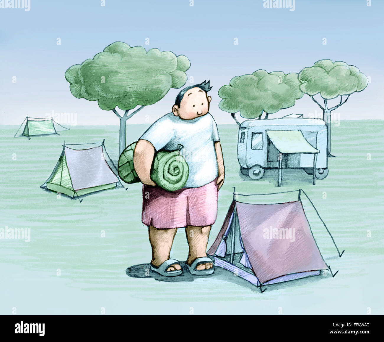A chubby boy looks at a small tent where he should sleep - Stock Image