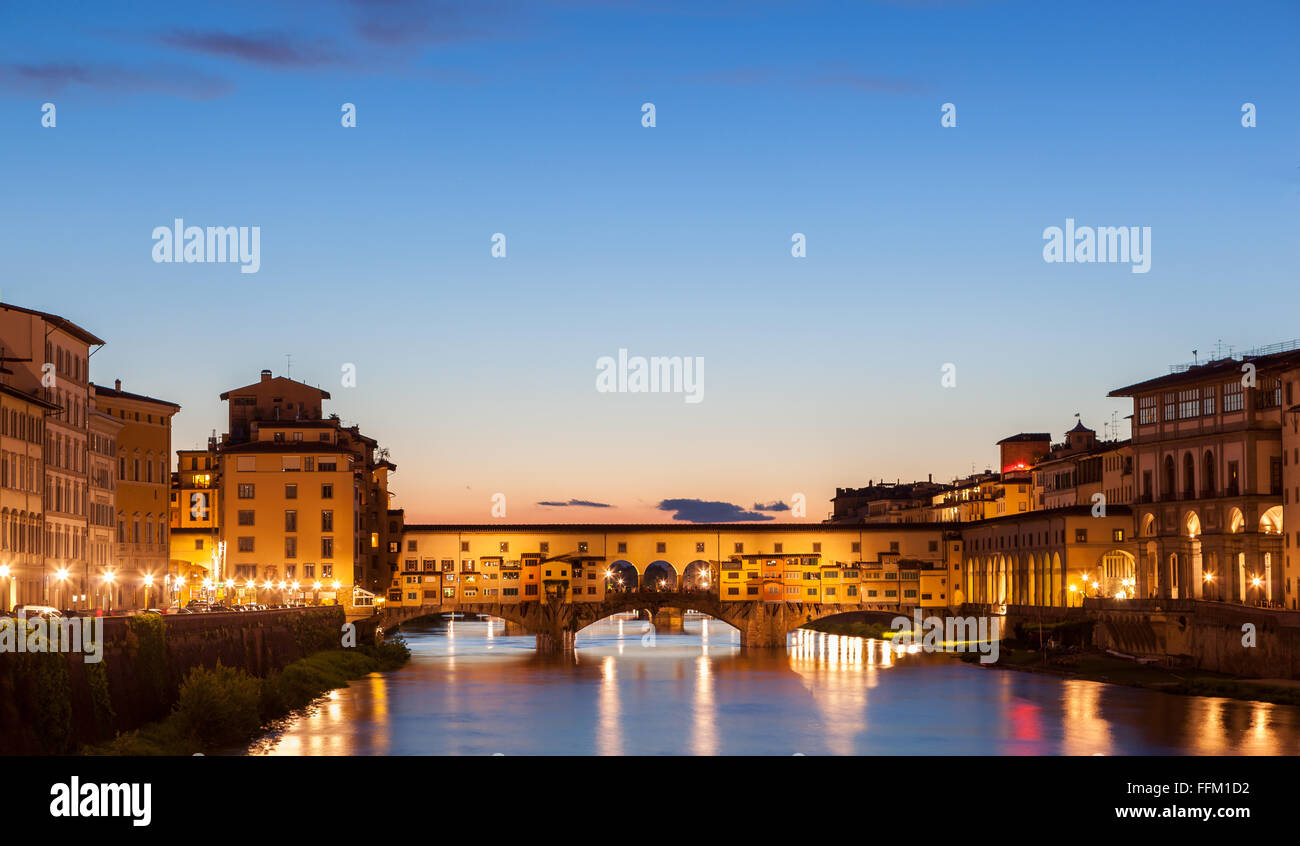 The Ponte Vecchio is a Medieval bridge over the Arno River, in Florence, Italy - Stock Image