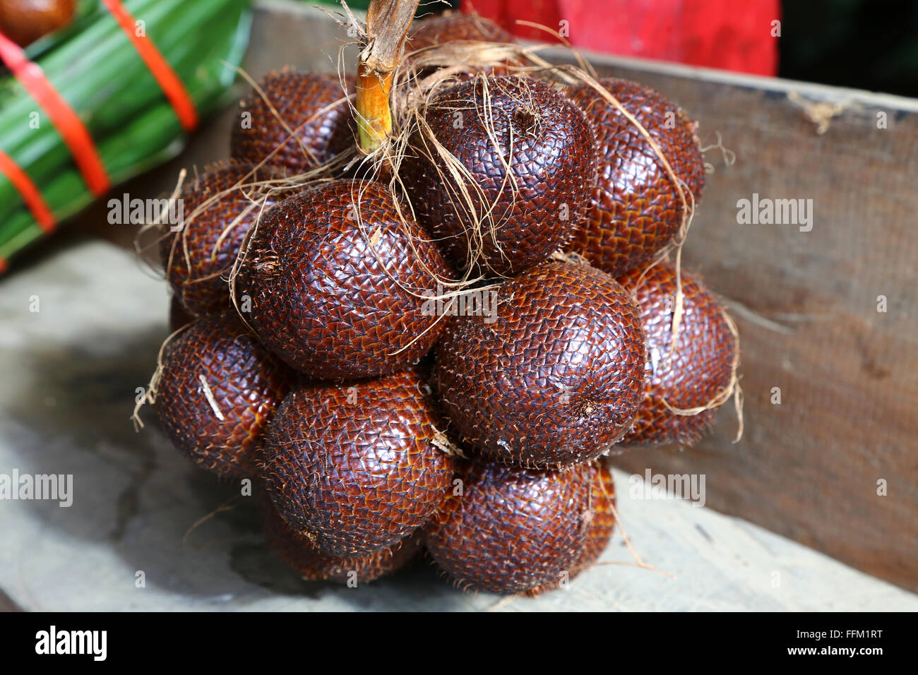A bundle of salak, so called Snake Fruit, in Indonesia - Stock Image
