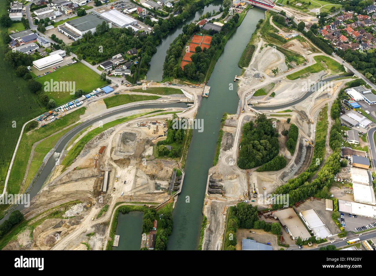 Aerial view, Rhine-Herne Canal, inland waterways, Emscher Rhine-Herne Canal, culvert, Castrop-Rauxel Henrichenburg, - Stock Image