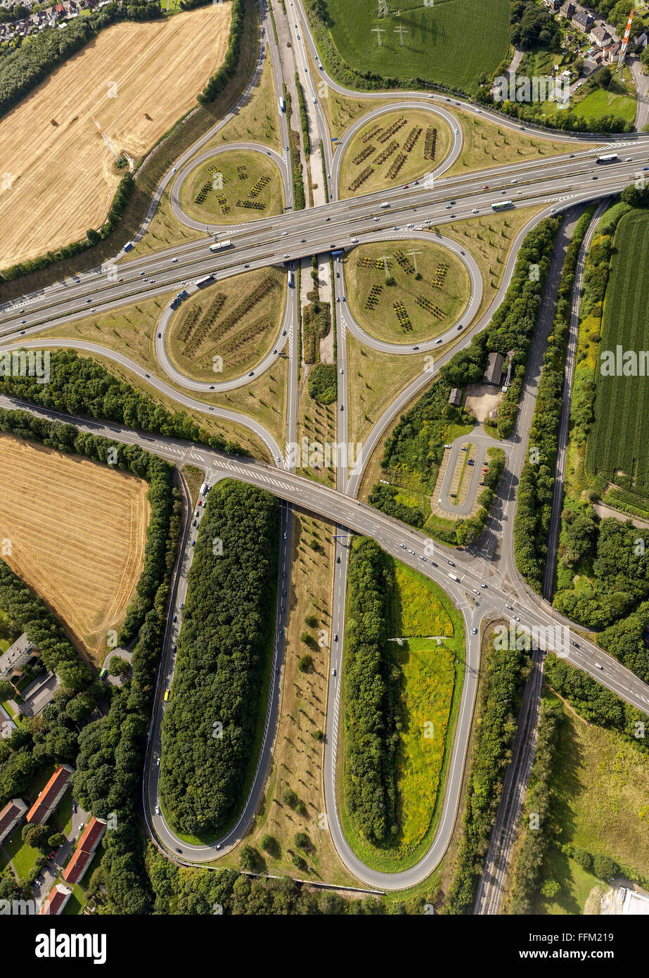 Aerial view, highway junction DO-Bodelschwingh CAS-Ost A45 and A42, Dortmund, Ruhr area, North Rhine Westphalia, - Stock Image