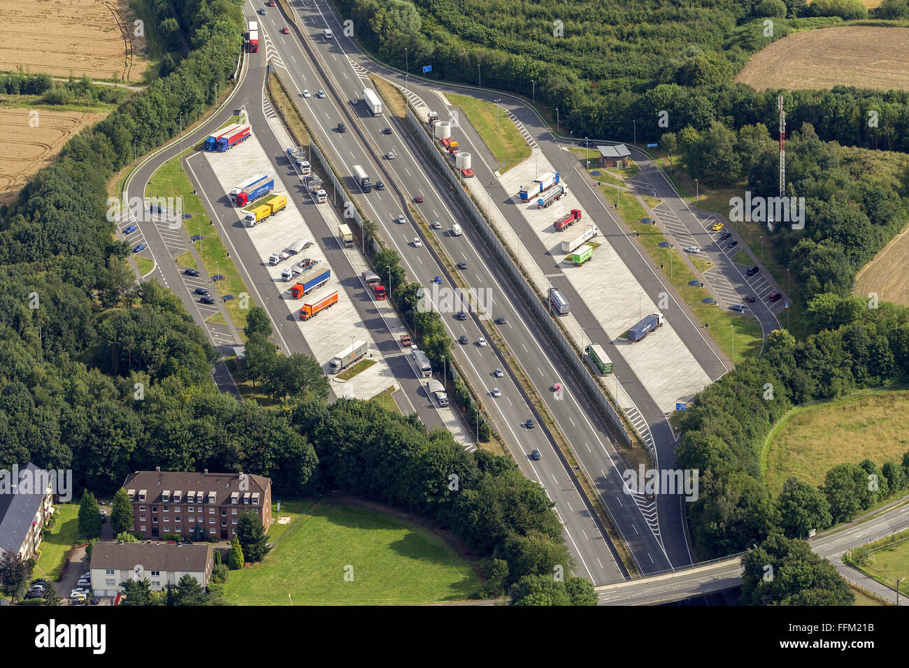 Aerial view, highway rest area Westerfilde Kirchlinde A45, Dortmund