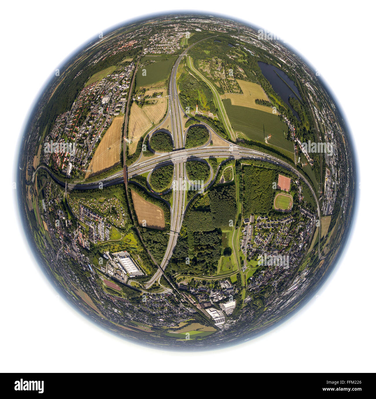 Aerial view, motorway intersection Dortmund harbor, highway A45, Sauerland route, fisheye image, Dortmund, Ruhr - Stock Image