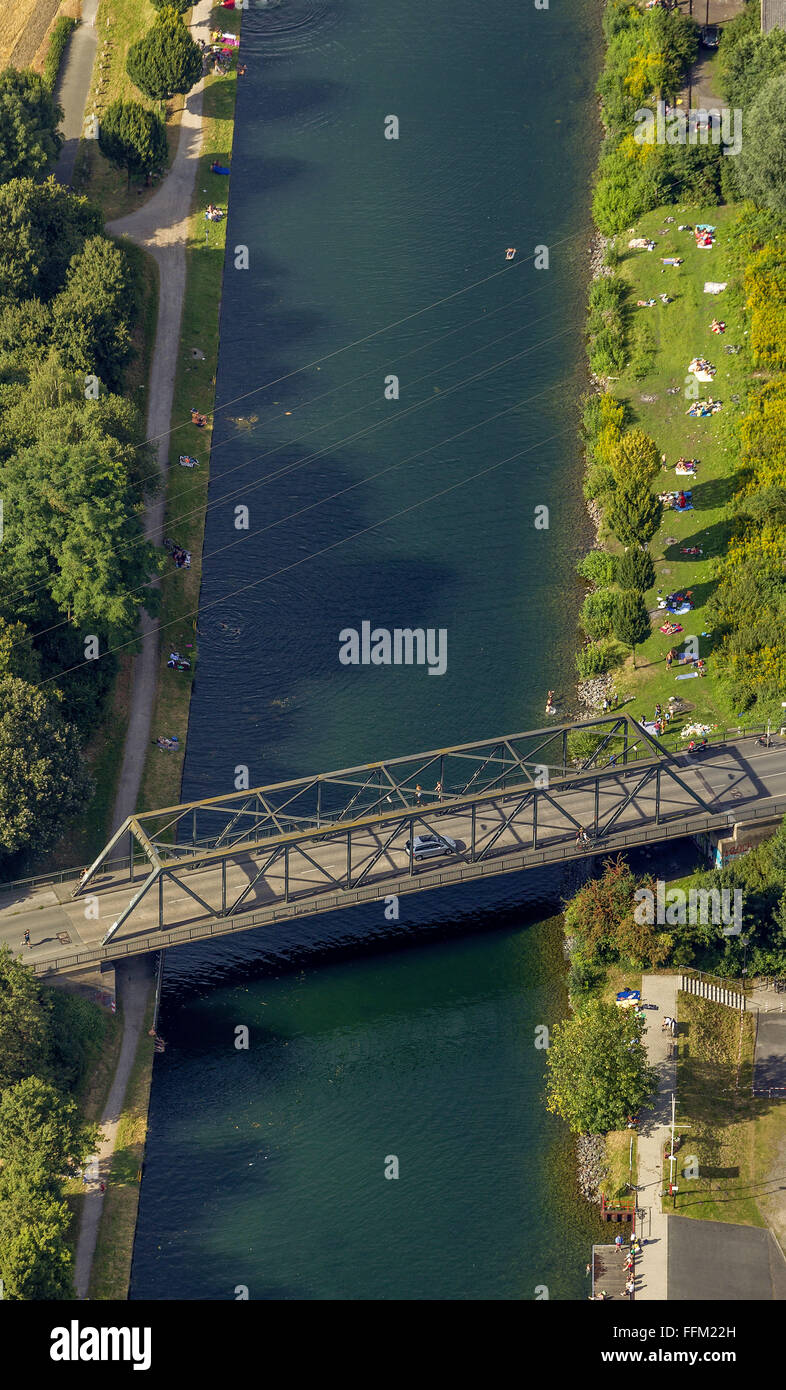 Aerial view, Dortmund-Ems Canal north of the port of Dortmund, regatta training route the Olympic champion in the - Stock Image