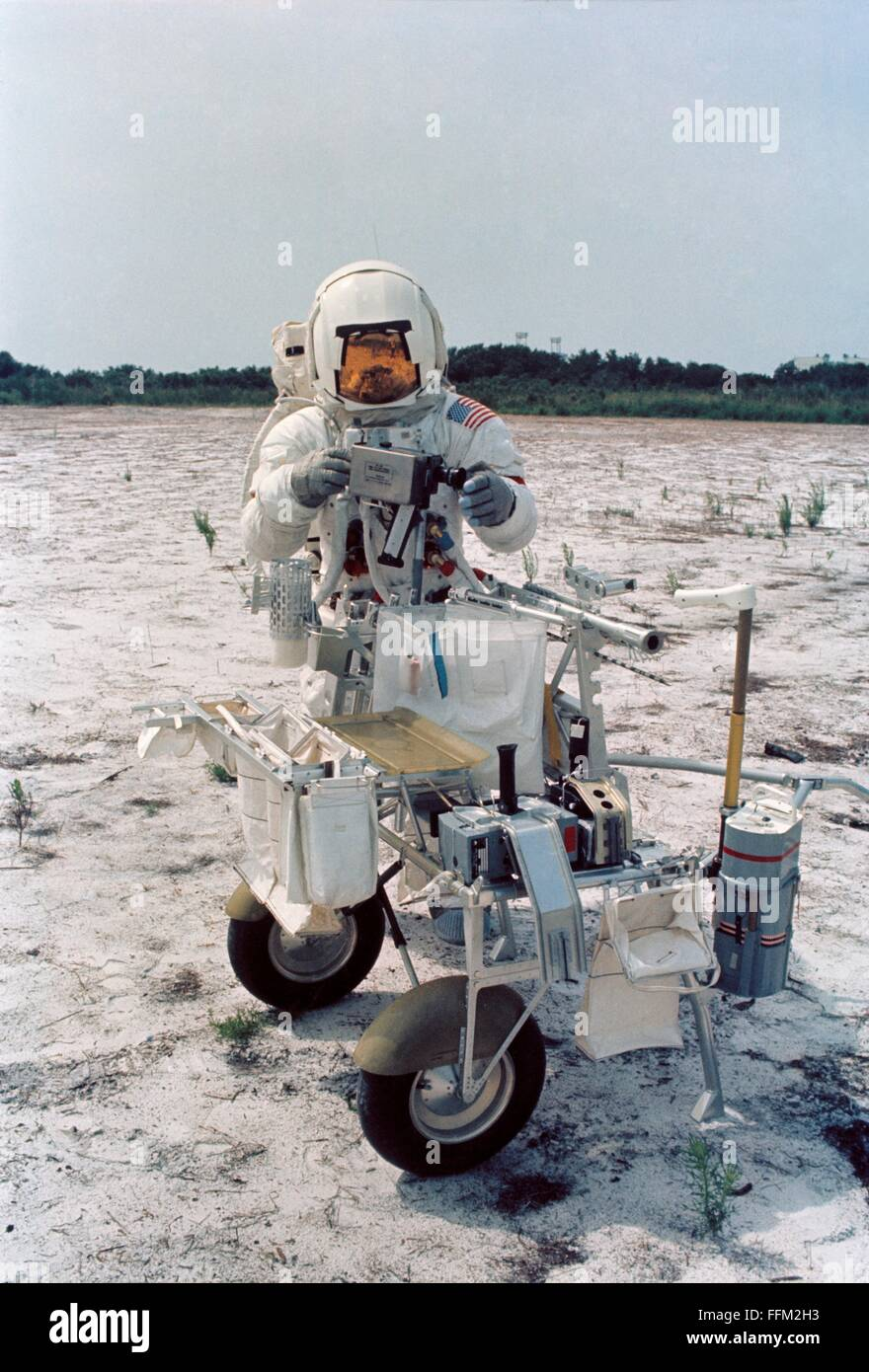 NASA Apollo 14 astronauts Alan B. Shepard Jr., commander, during lunar surface simulation training at the Kennedy - Stock Image