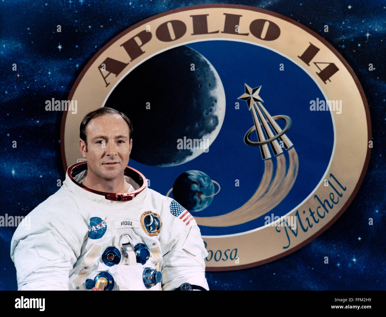 Portrait of the Apollo 14 lunar landing mission astronaut and Lunar Module pilot Edgar D. Mitchell at the Johnson - Stock Image