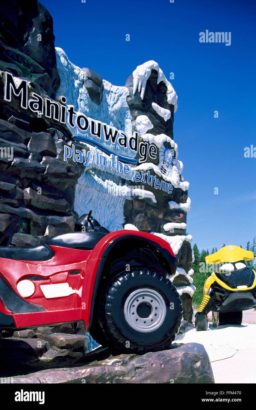 Welcome Sign to Town of Manitouwadge, Ontario, Canada - ATV and Skidoo showcase Local Summer and Winter Recreational - Stock Image