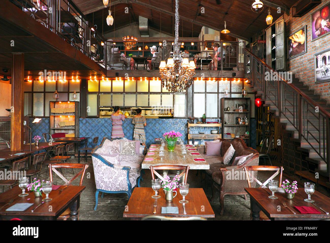 Interior of The Bistrot cafe/restaurant in Seminyak, Bali, Indonesia - Stock Image