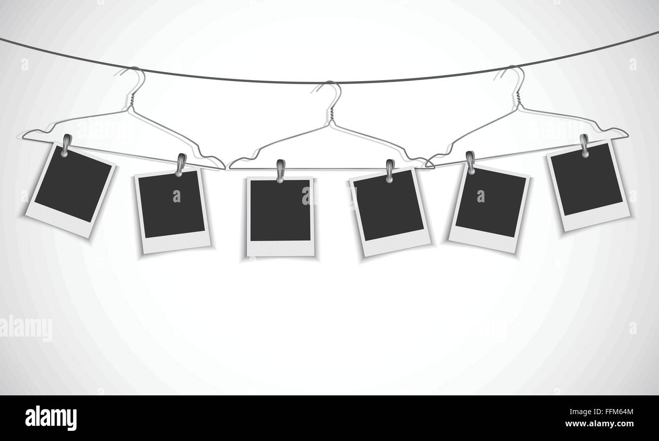 Blank photo frame hanging on a rope with clothes hanger Stock Vector ...