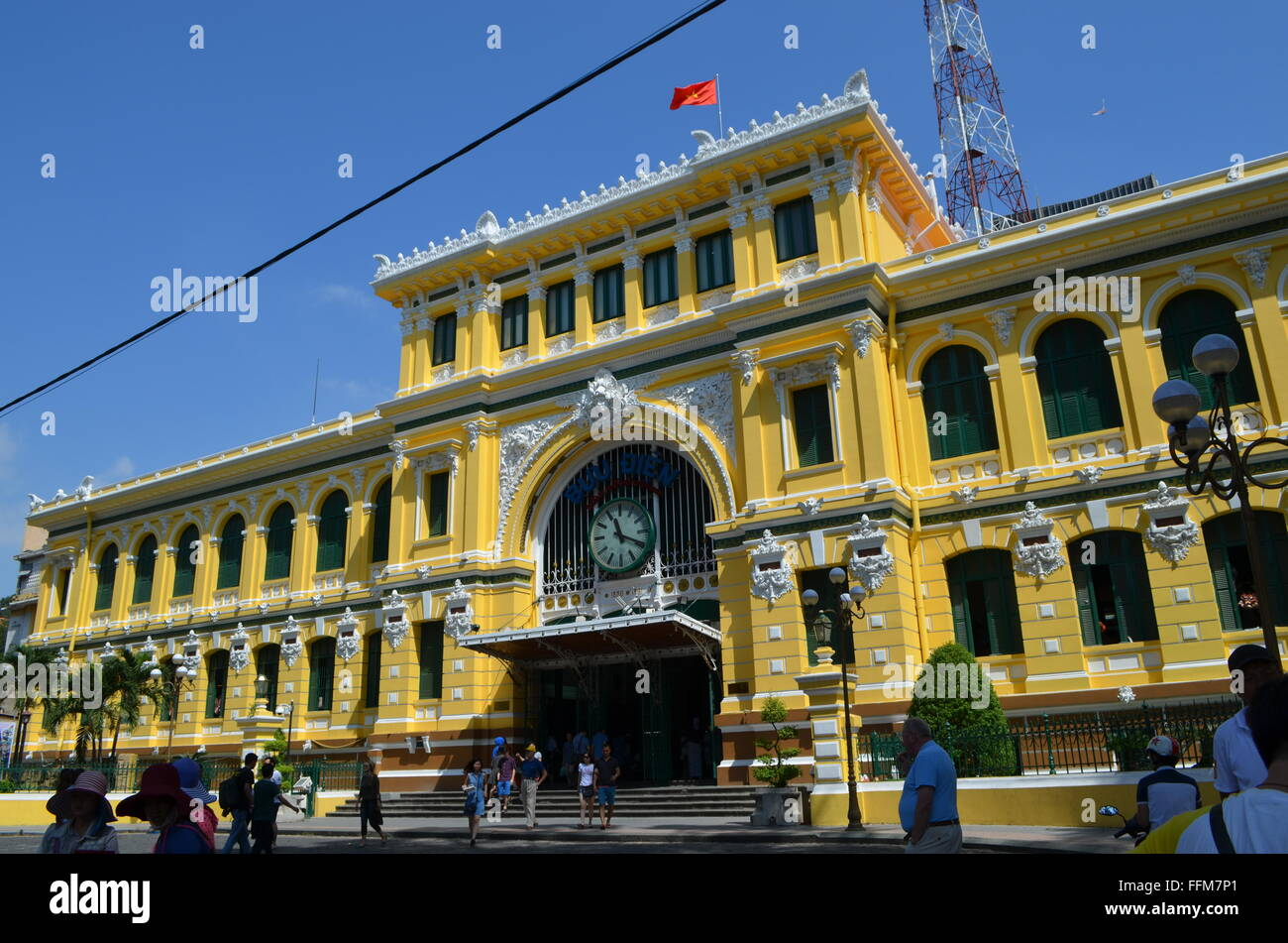 Saigon,Viet Nam The Post Office near the cathedral a major tourist attraction.Inside is a map showing  'Saigon - Stock Image