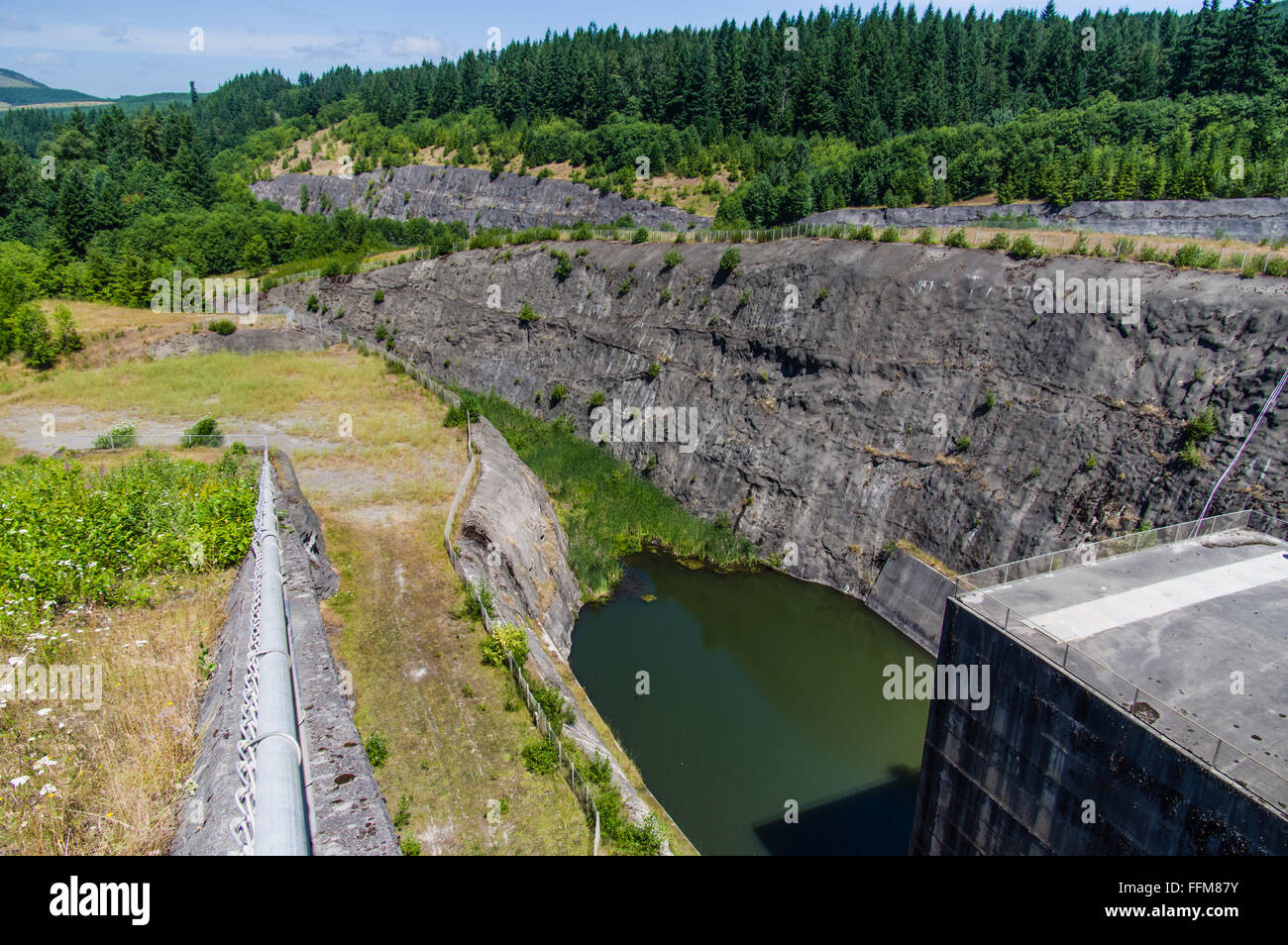 Hardened downstream flow path from the sediment retention dam North Fork Toutle RIver - Stock Image