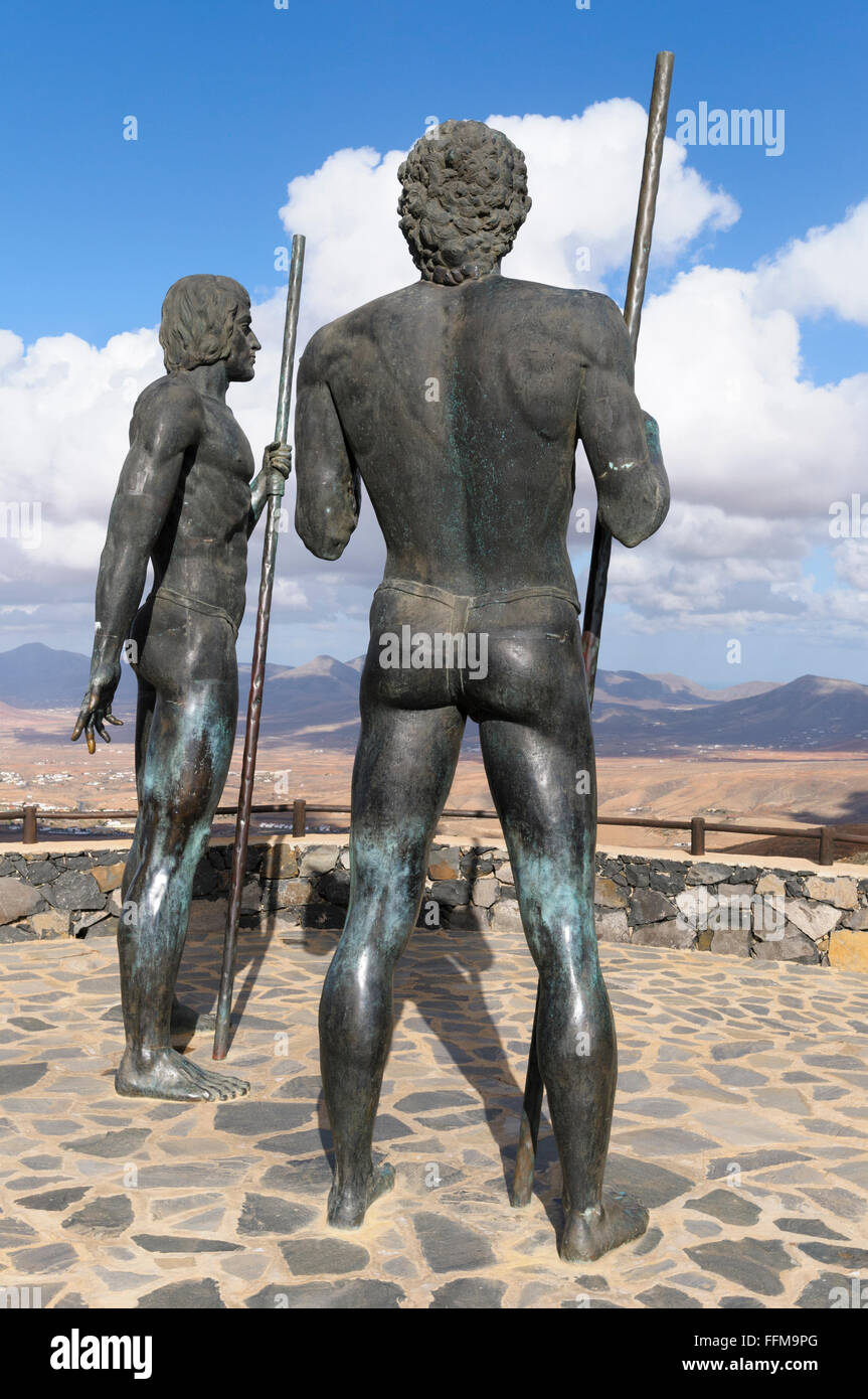 Statues of kings Guise and Ayose, Parque Rural, Fuerteventura, Canary Islands, Spain Stock Photo