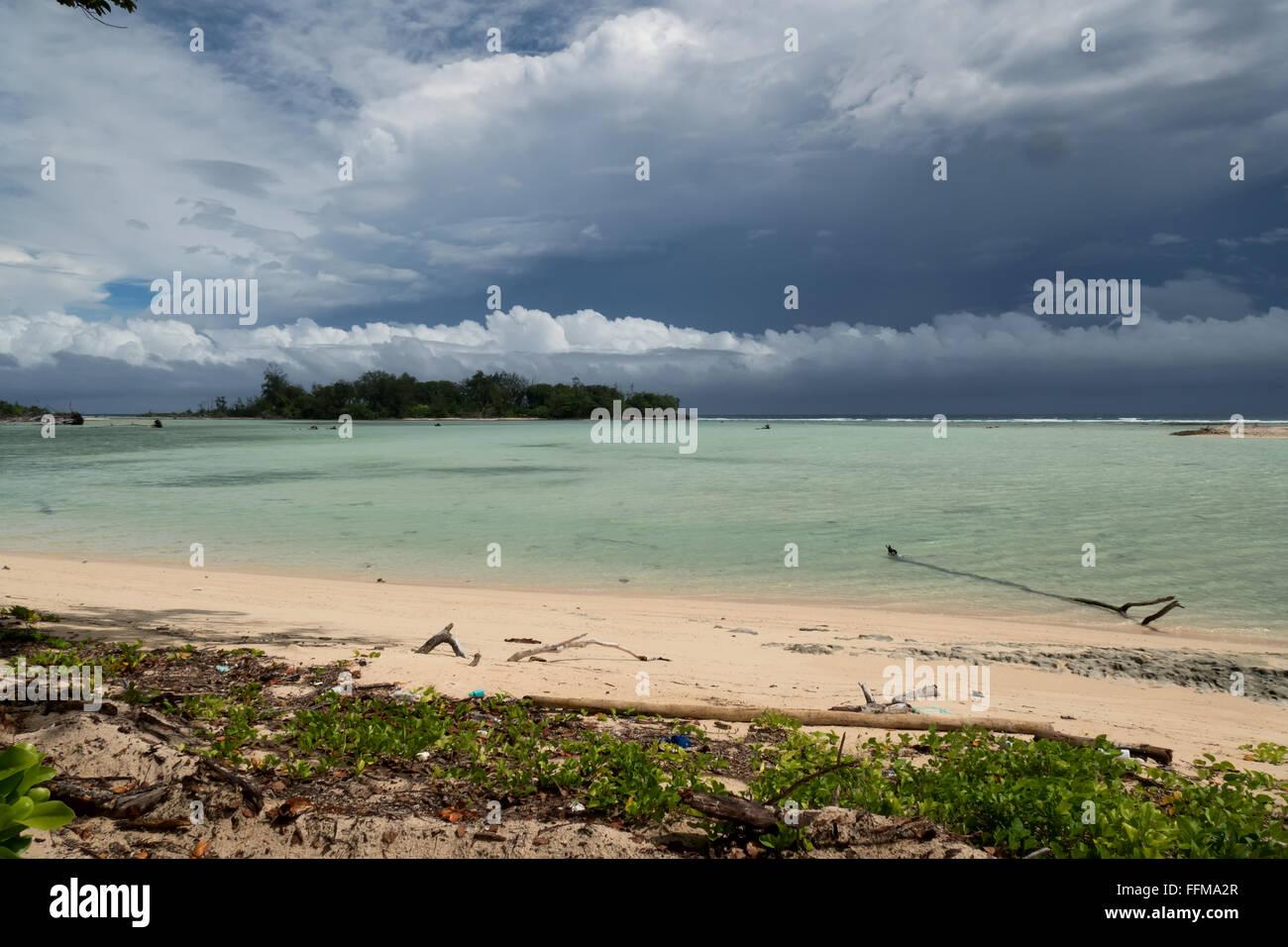 Palau, Micronesia, Pacific Ocean. White sand beach, atoll, lagoon. Sea, nature, island landscape, storm, rainstorm, - Stock Image