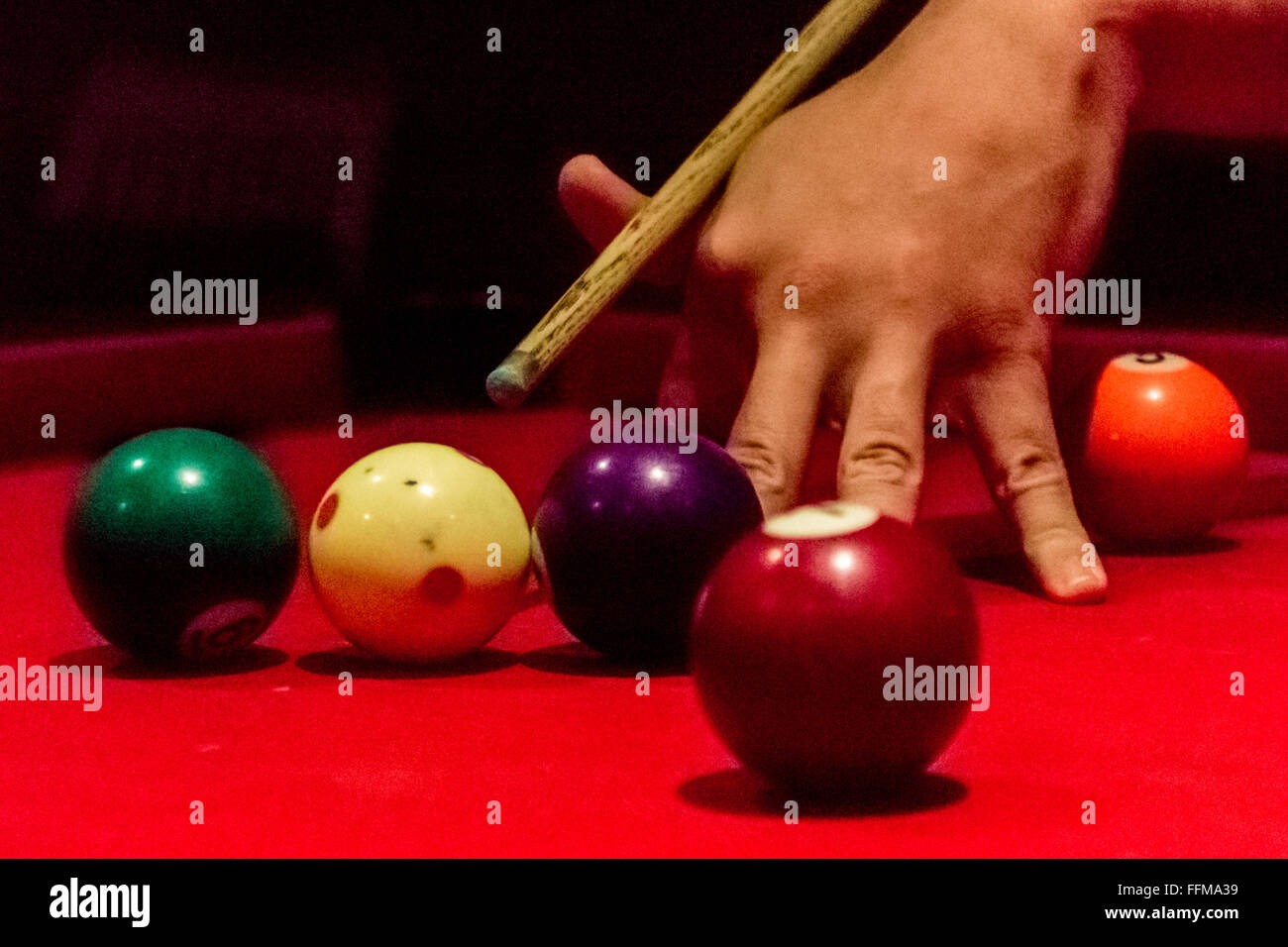 Pool table 8ball - Stock Image