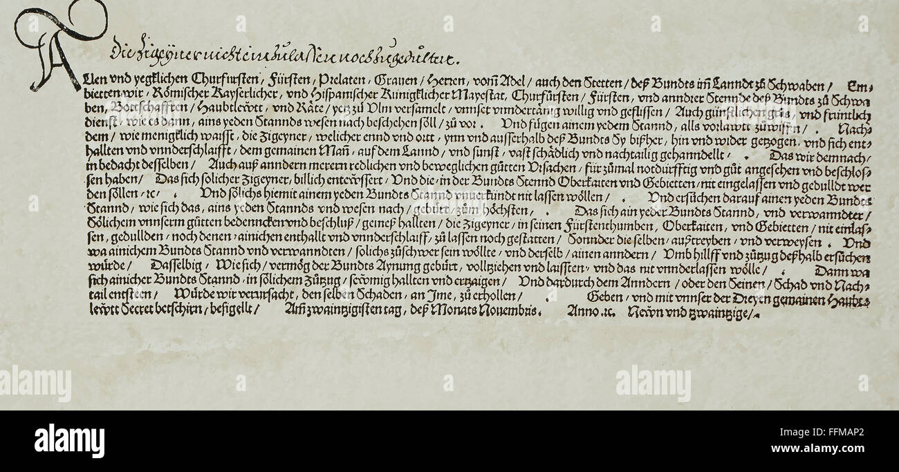 documents, proclamation of the Swabian League against the 'gypsies' (Sinti and Romanies), 1529, private - Stock Image