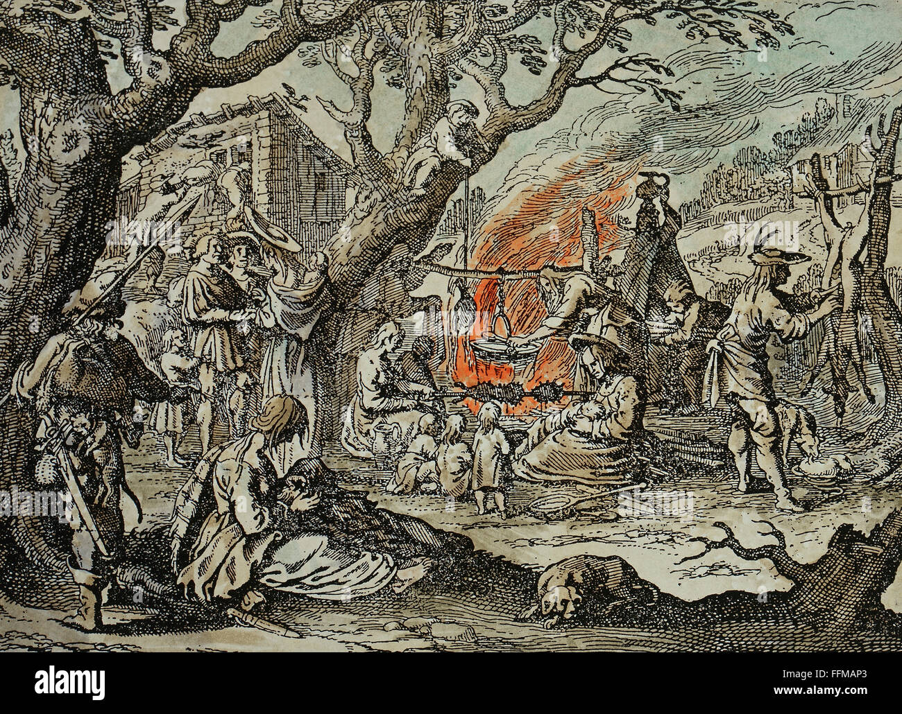 people, Sinti and Romanies, 'Gipsy Camp', copper engraving, coloured, German, 17th century, private collection, - Stock Image