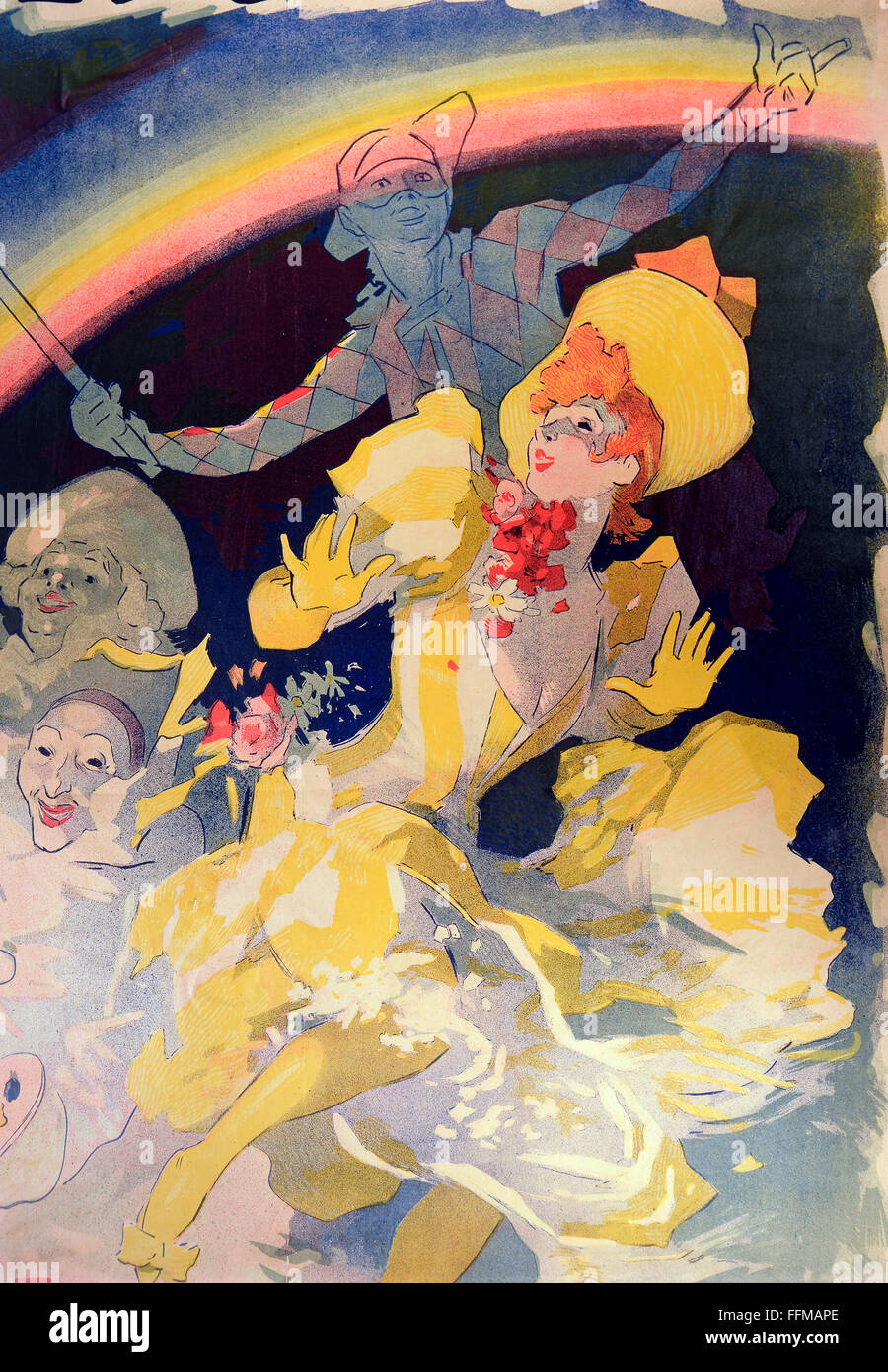 posters, advertising poster for the pantomime ballet 'L'Arc en Ciel' (The Rainbow) at the music hall - Stock Image