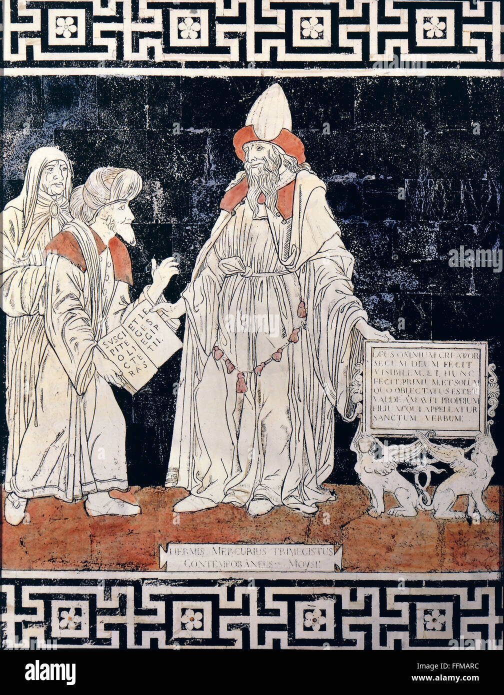 Hermes (lat. Mercurius), Greek God, messenger of the gods, as Hermes Trismegistos, full length, with the personification - Stock Image
