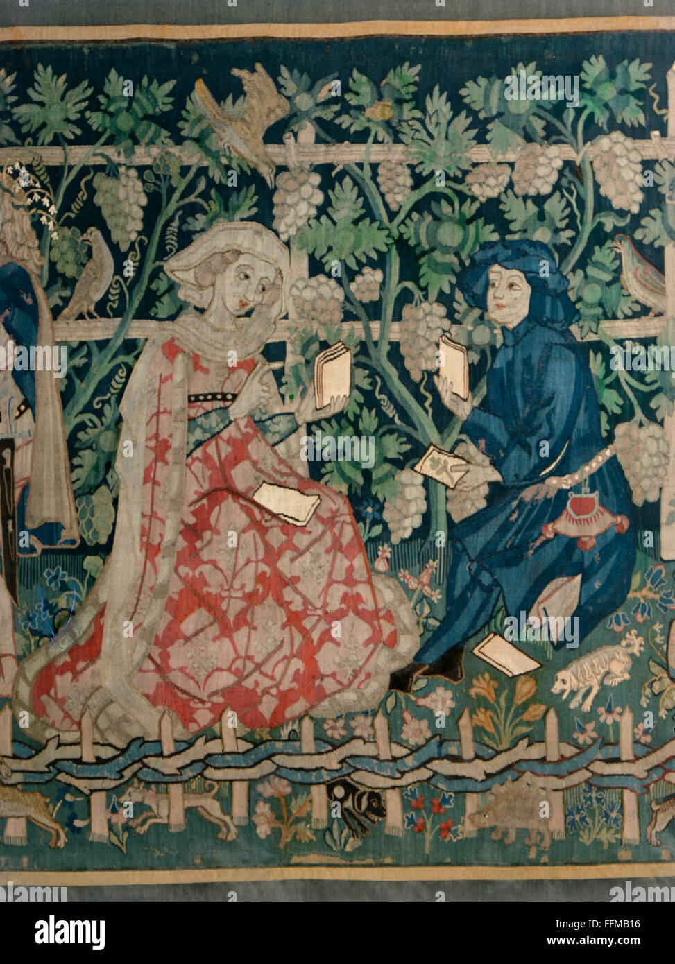 Fine Arts, Tapestry, U0027The Garden Of Loveu0027, Detail, Couple Playing