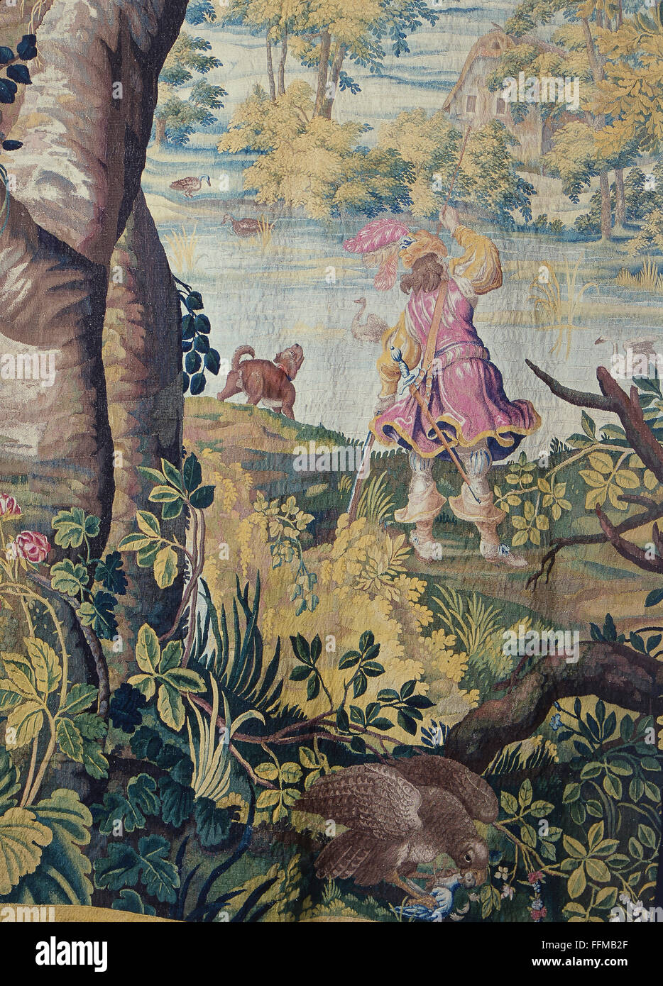 hunt, squire reloading his rifle during duck hunt, tapestry, detail, Netherlands, circa 1640, Additional-Rights - Stock Image