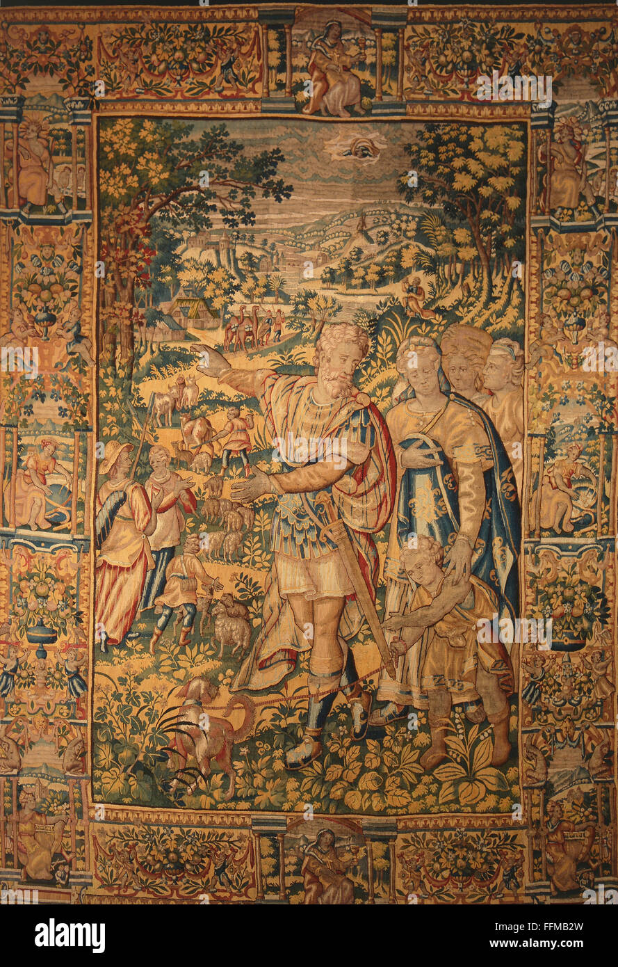 Abraham, son of Terah, ancestor of the Hebrews, expulsing Hagar and Ismael, tapestry, Martin Reymbouts manufactory, - Stock Image