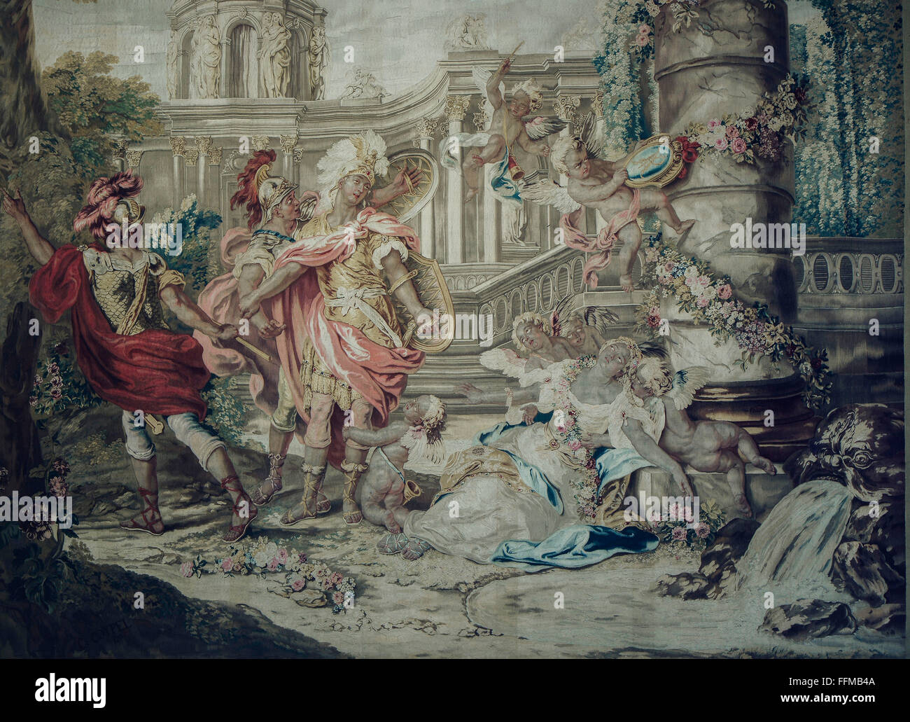 theatre / theater, opera, 'Armide' by Jean-Baptiste Lully, Armida fainting, tapestry, after design by Charles - Stock Image