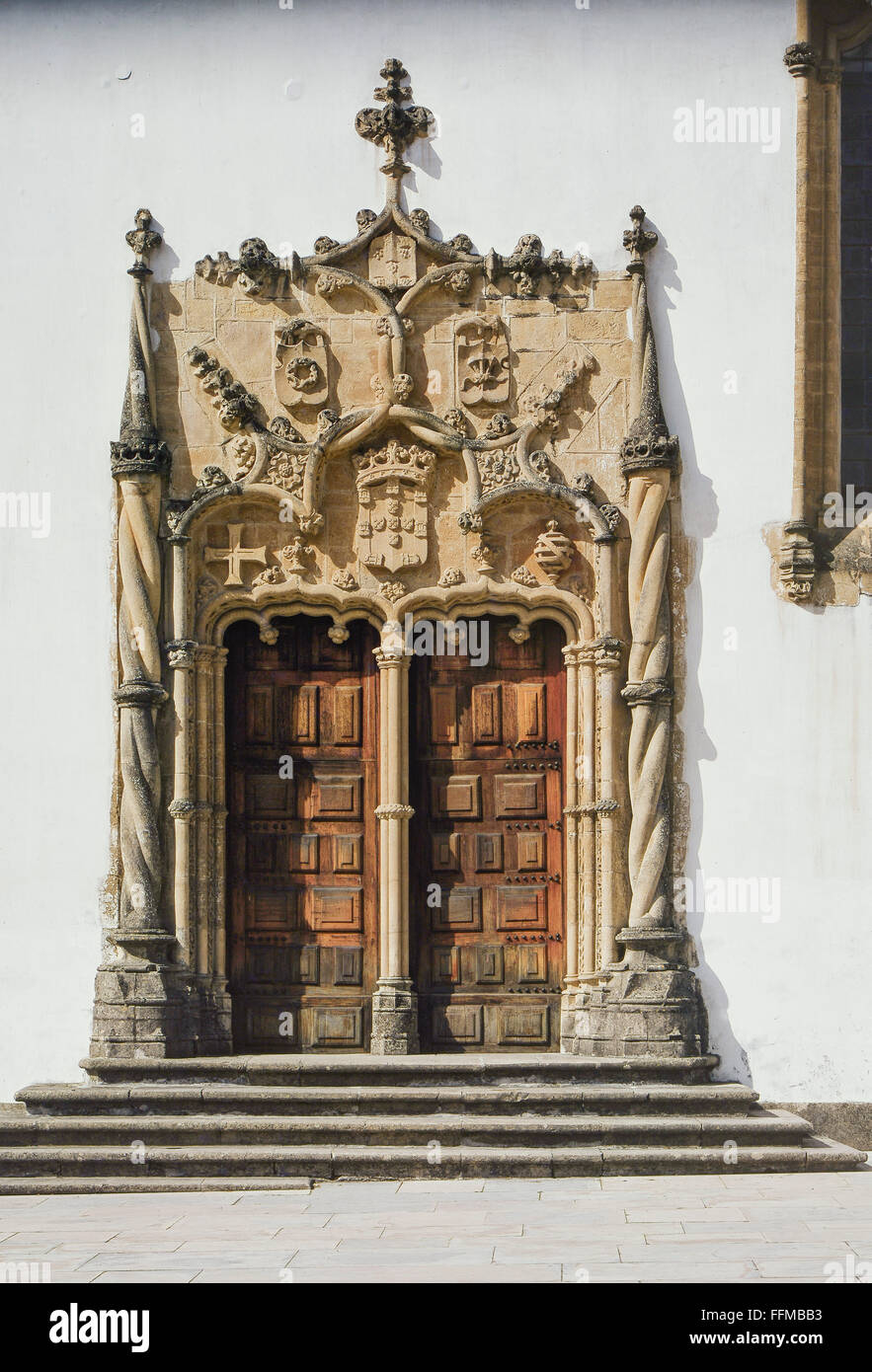 geography / travel, Portugal, Coimbra, building, university, exterior view, entrance to the old library, late 15th - Stock Image