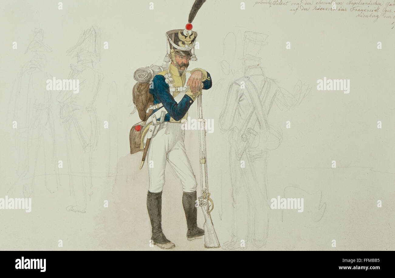military, France, Polish member of the Napoleonic guards, watercolour by Johann Adam Klein (1792 - 1875), Nuremberg, - Stock Image