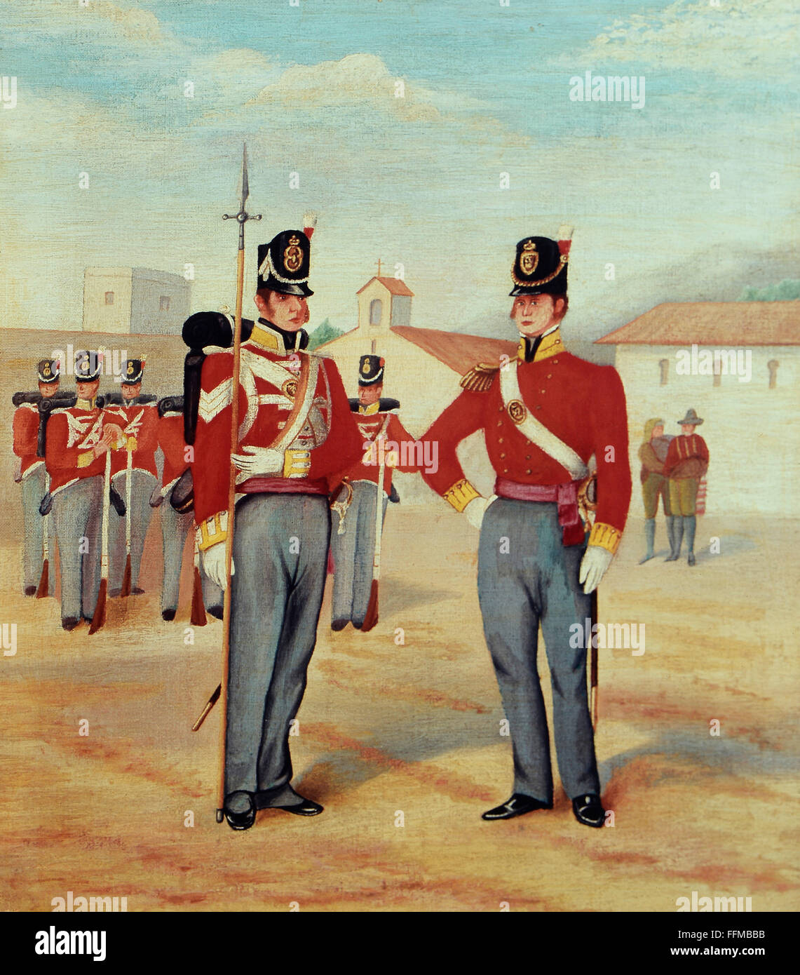 military, Great Britain, Scottish lancers at the barrack yard, oil on canvas, circa 1860, Additional-Rights-Clearences - Stock Image