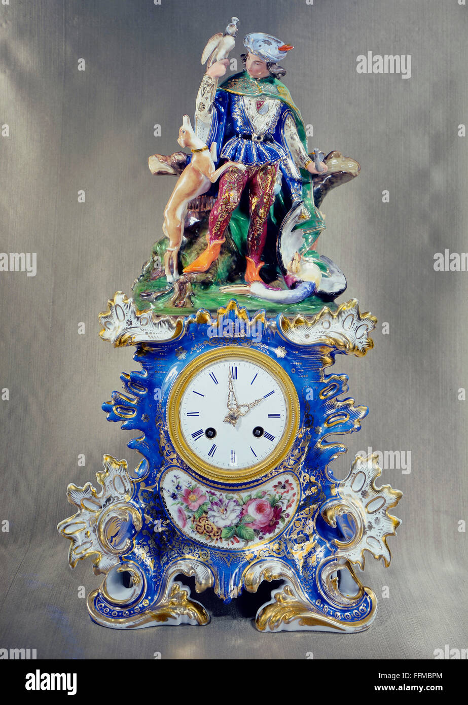 clocks, bracket clock, falconer with hunting dog, porcelain, painted, Sevres, Paris, circa 1860, Additional-Rights Stock Photo