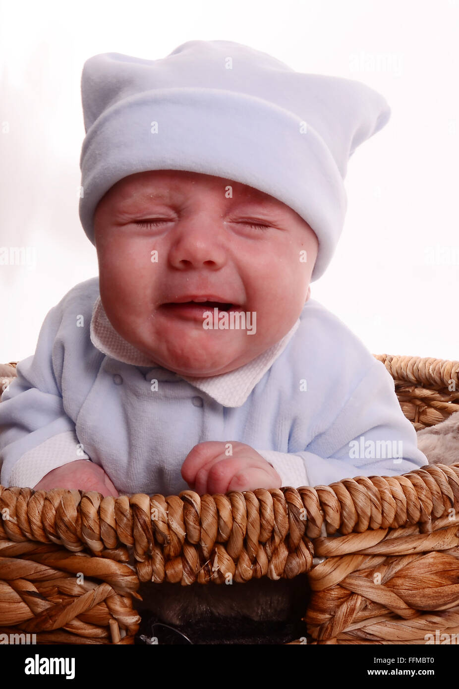 unhappy baby boy crying, stress, upset, cry for attention, postnatal depression - Stock Image