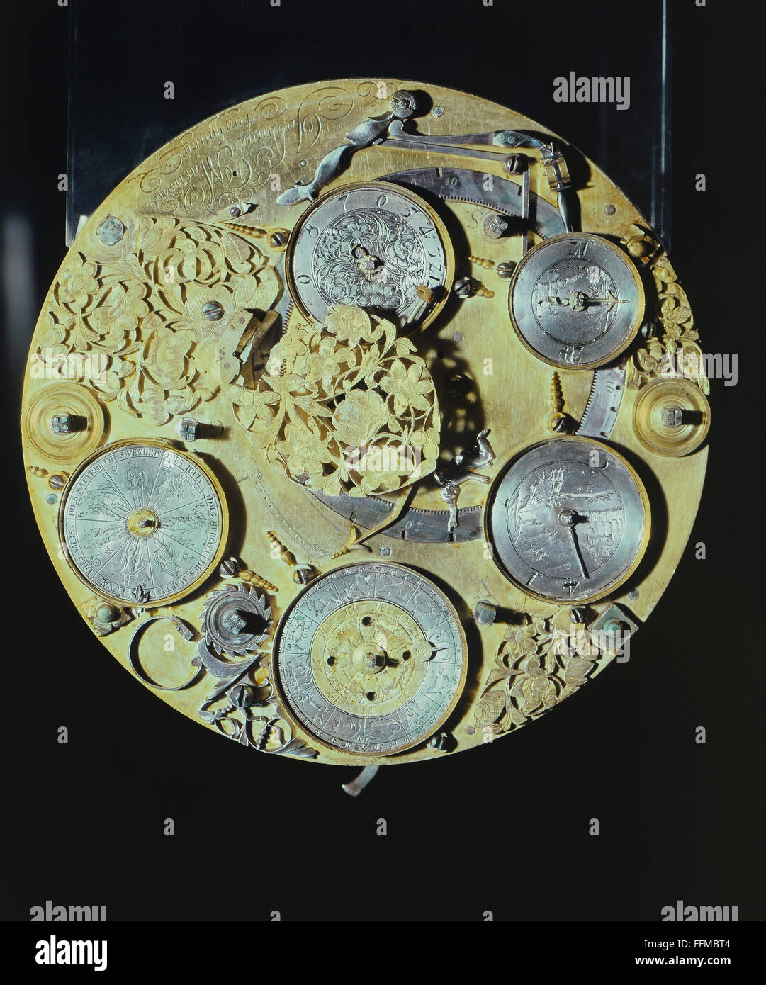 clock, clockwork of a table clock, by Johannes Martinus, brass, gold-plated, Augsburg, late 17th century, Bavarian - Stock Image