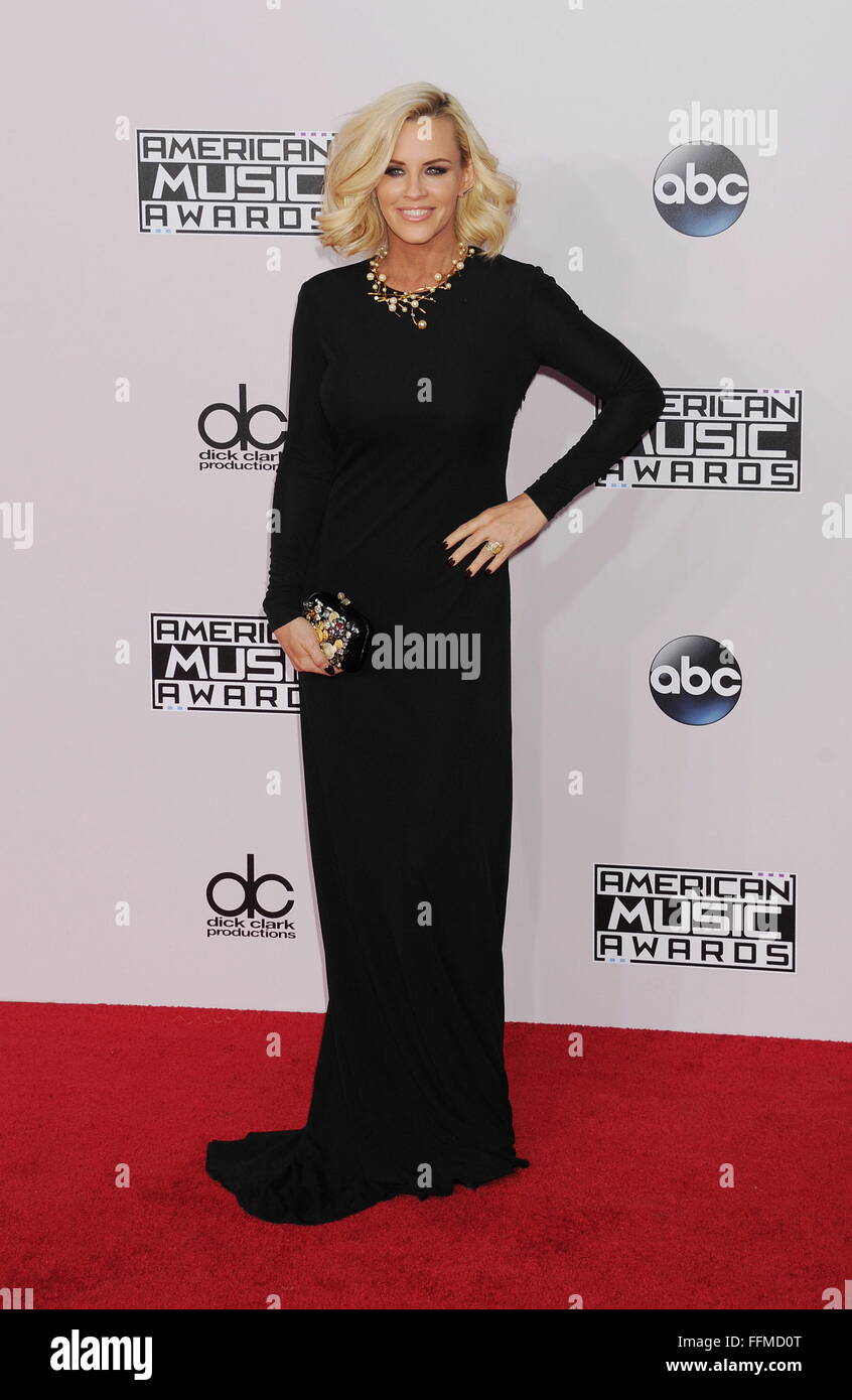 TV personality Jenny McCarthy arrives at the 2014 American Music Awards at Nokia Theatre L.A. Live on November 23, - Stock Image