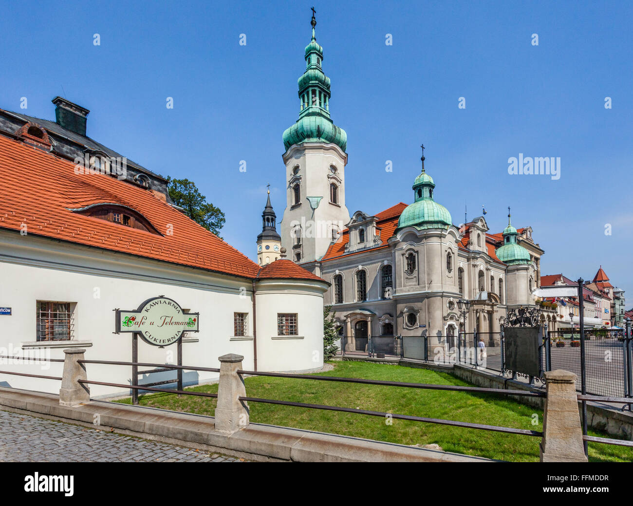 Poland, Silesian Voivodship, Pszczyna (Pless), view of the Neo-baroque Protestant Church, at the gate house of Pszczyna - Stock Image