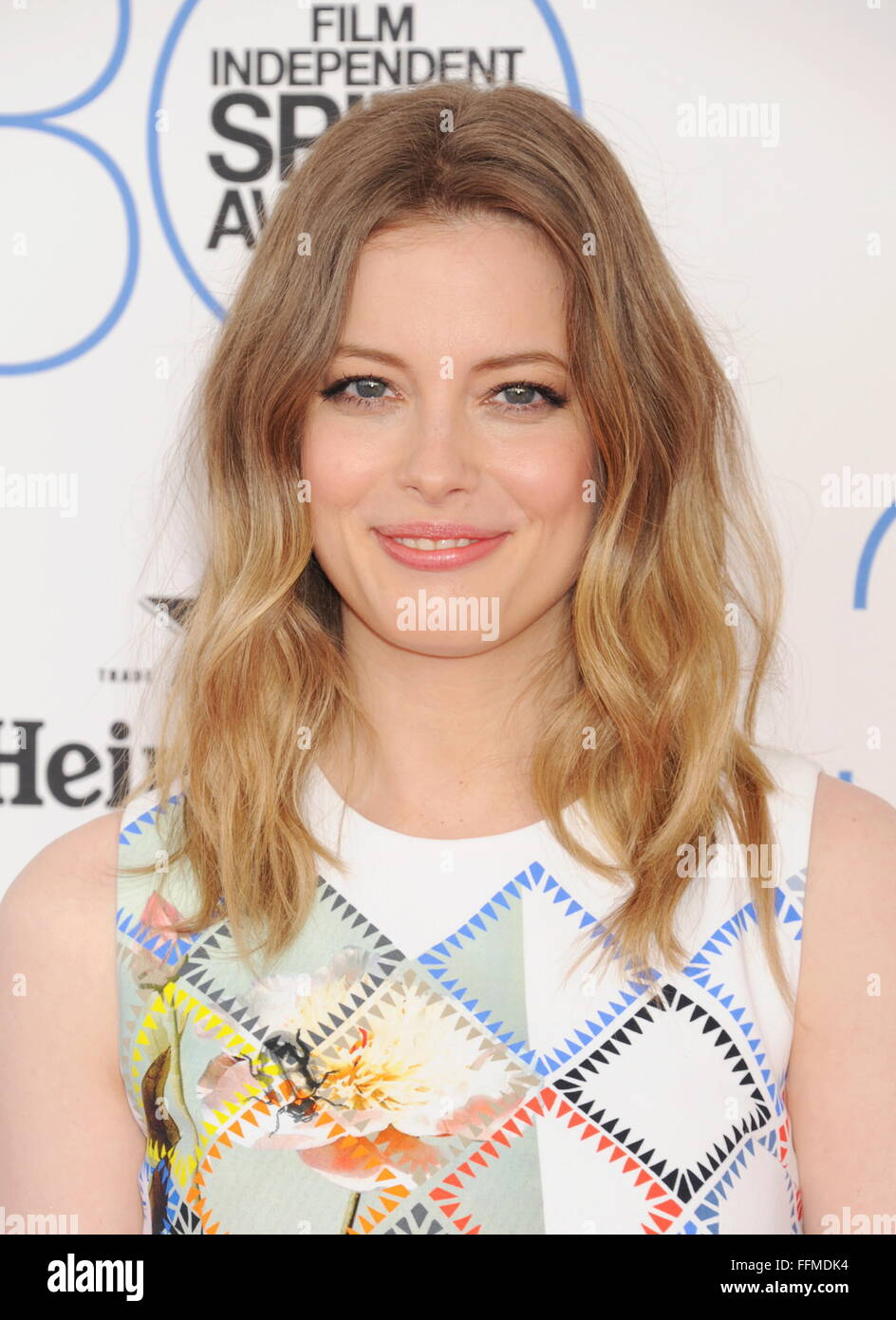 Actress Gillian Jacobs arrives at the 2015 Film Independent Spirit Awards on February 21, 2015 in Santa Monica, - Stock Image