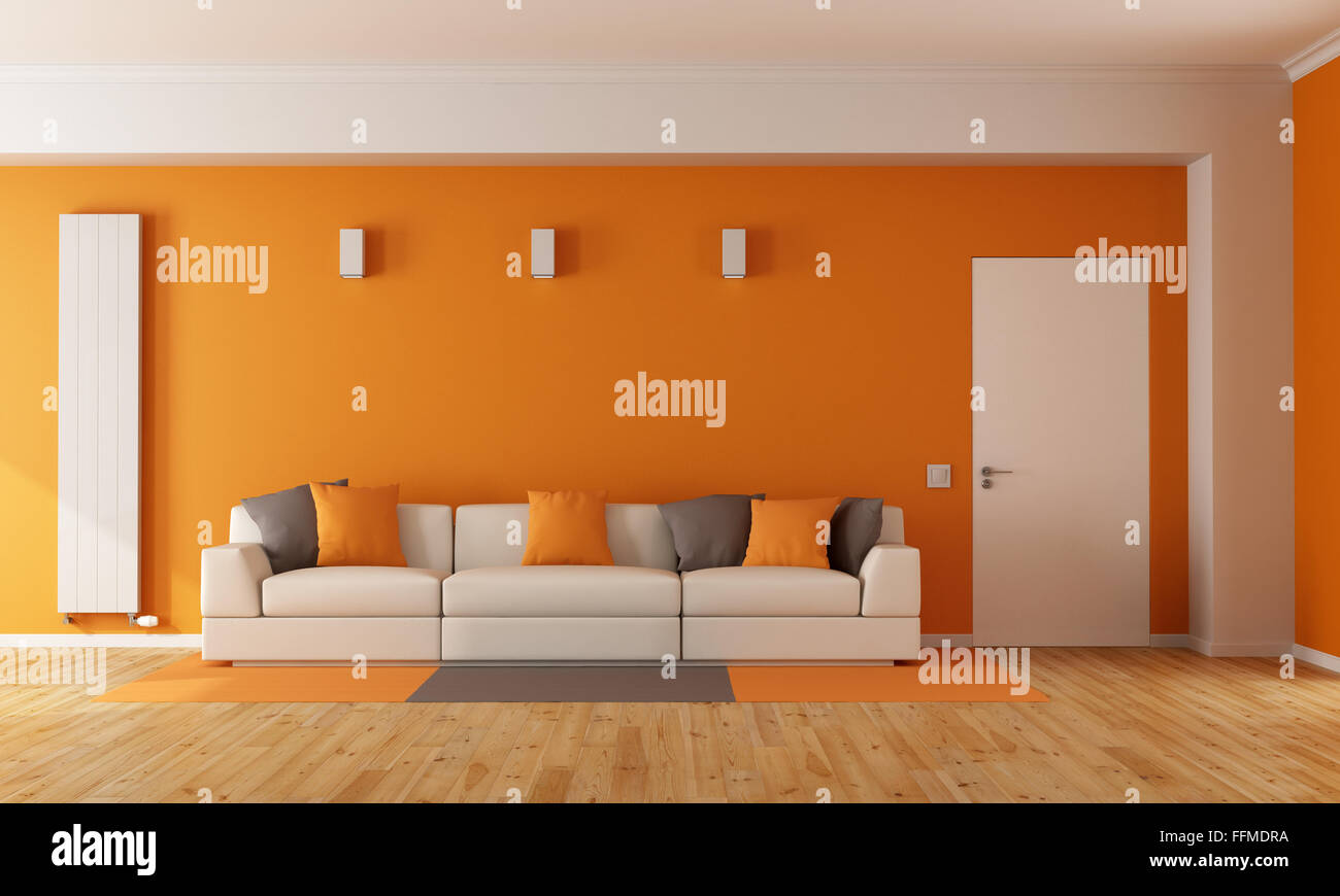 Modern Orange Living Room With White Sofa And Closed Door 3d Stock Photo Alamy