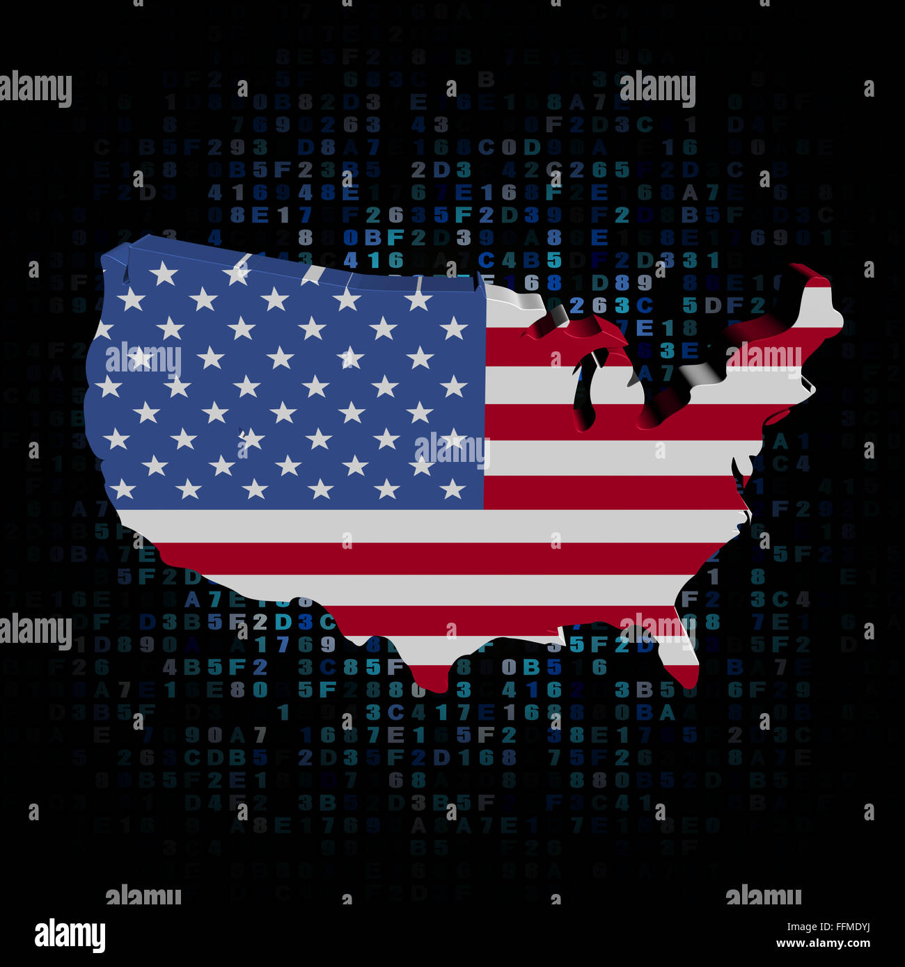 USA map flag on hex code illustration Stock Photo: 95721686 - Alamy