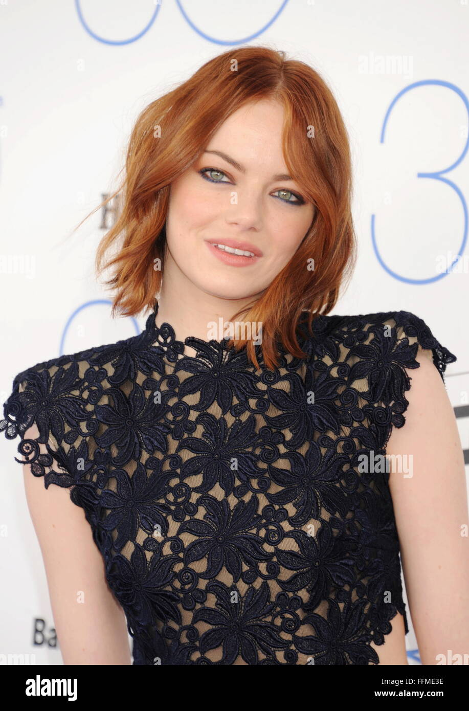 Actress Emma Stone arrives at the 2015 Film Independent Spirit Awards on February 21, 2015 in Santa Monica, California., - Stock Image
