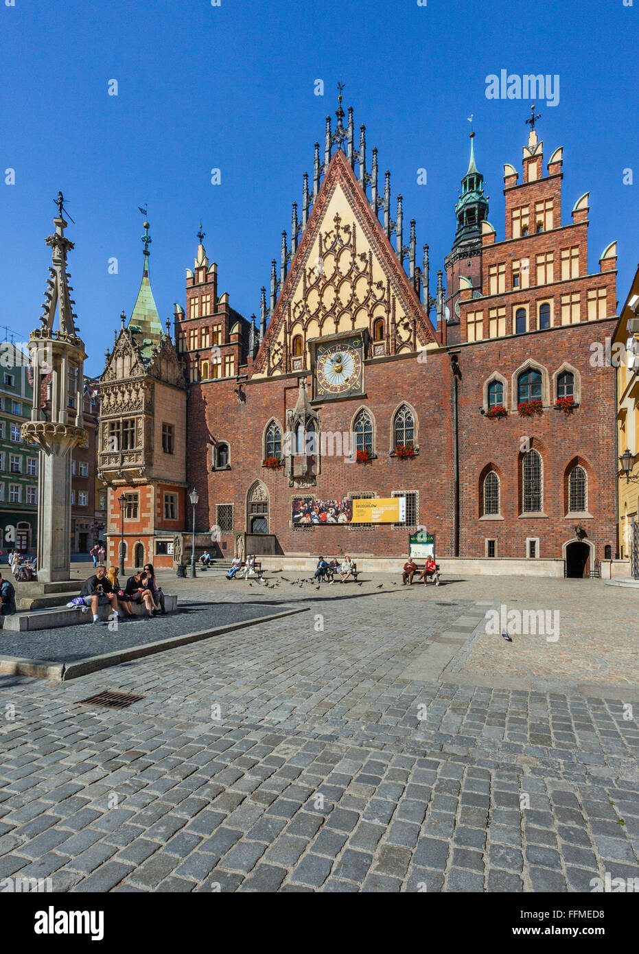 Poland, Lower Silesia, Wroclaw (Breslau), Gothic style Old Town Hall - Stock Image