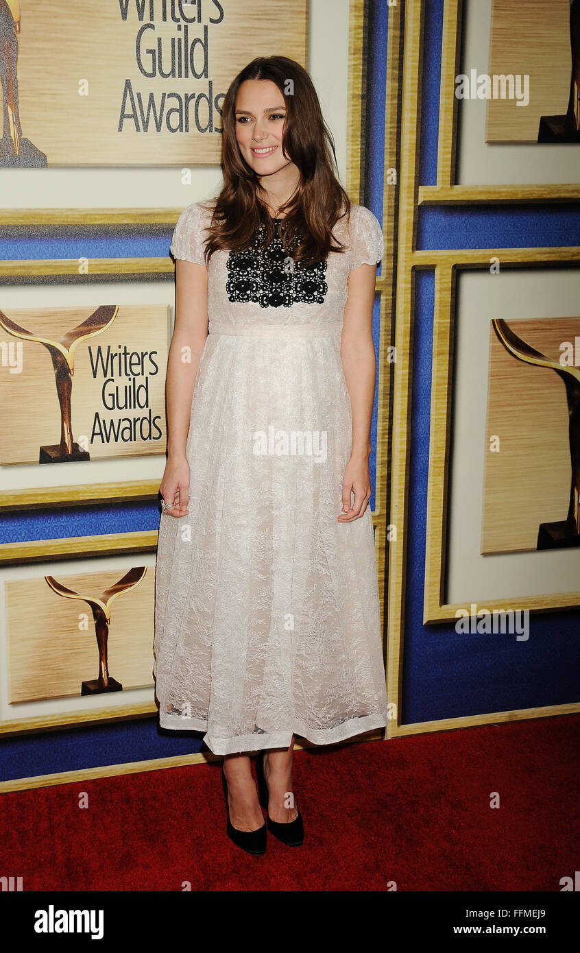 Actress Keira Knightley attends the 2015 Writers Guild Awards L.A. Ceremony at the Hyatt Regency Century Plaza on - Stock Image