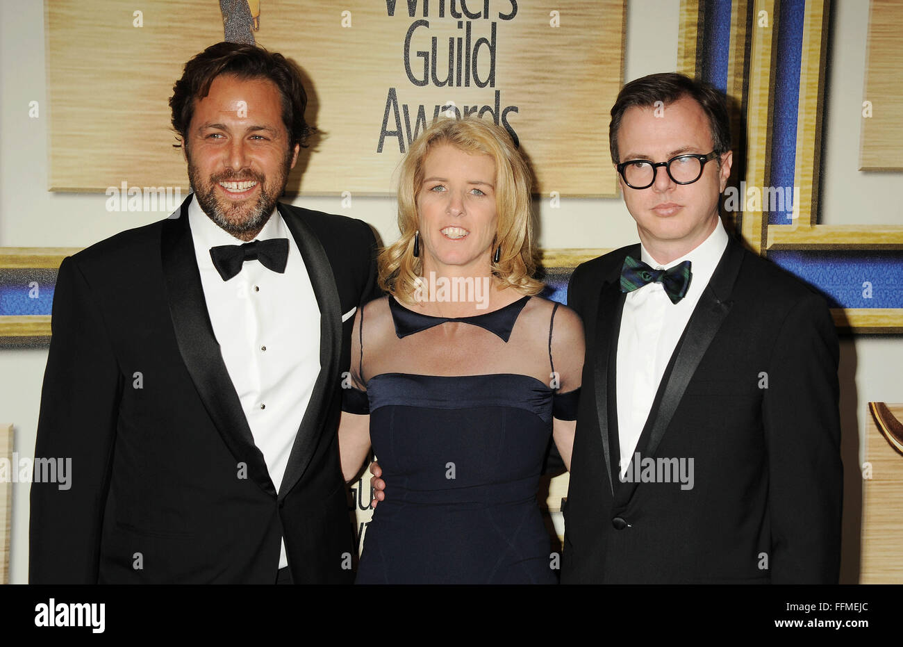 (L-R) Screenwriter Mark Bailey, director Rory Kennedy and guest attend the 2015 Writers Guild Awards L.A. Ceremony - Stock Image