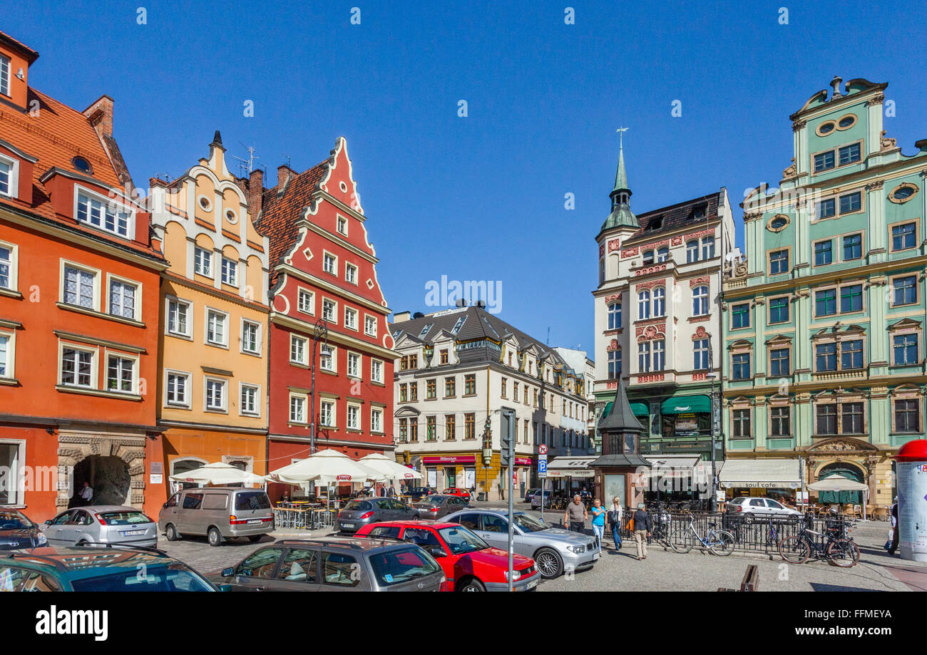 Poland, Lower Silesia, Wroclaw (Breslau), patrician houses at Salt Market Square Stock Photo