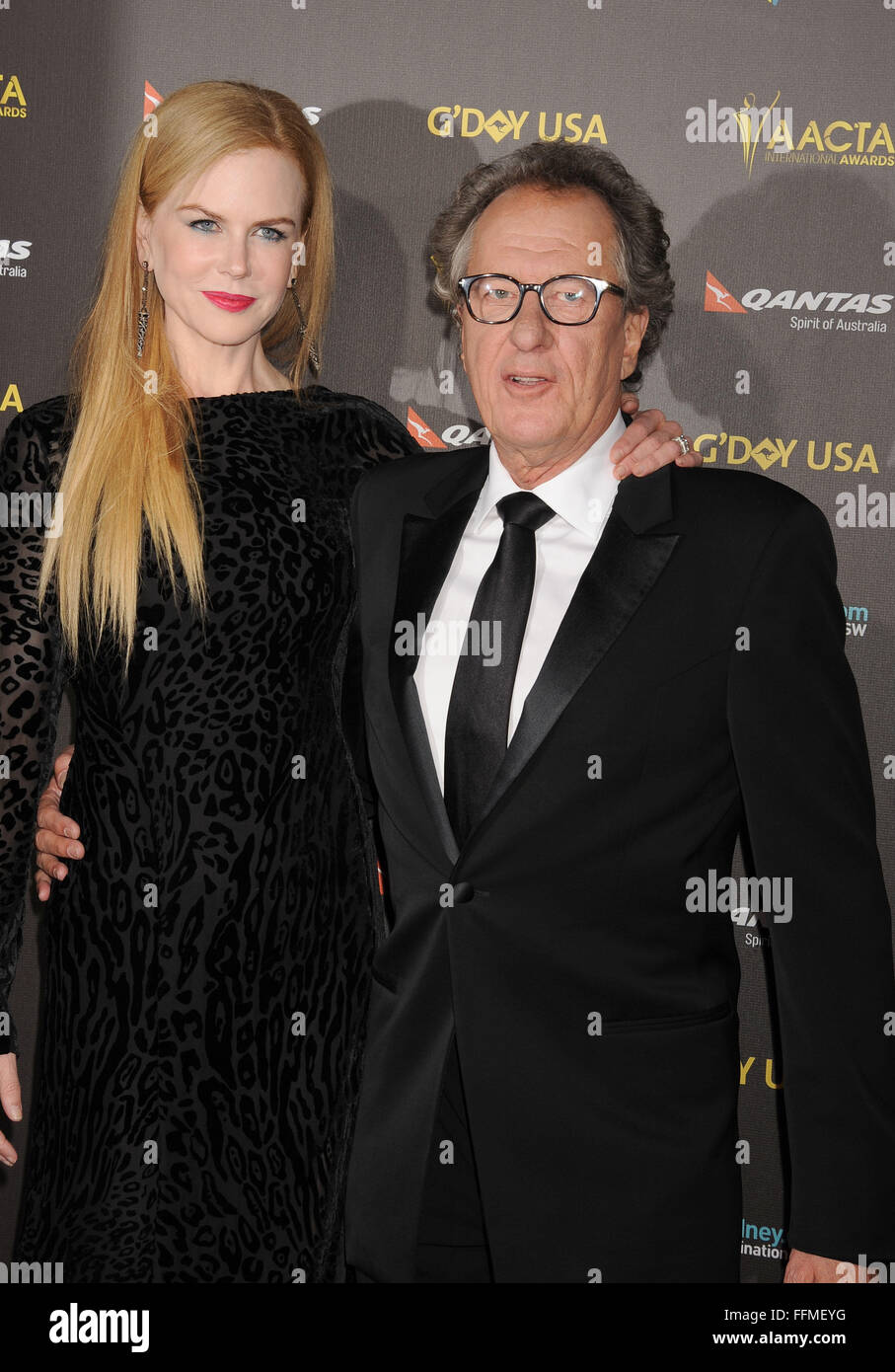 Actors Nicole Kidman (L) and Geoffrey Rush attend the 2015 G'Day USA Gala featuring the AACTA International - Stock Image