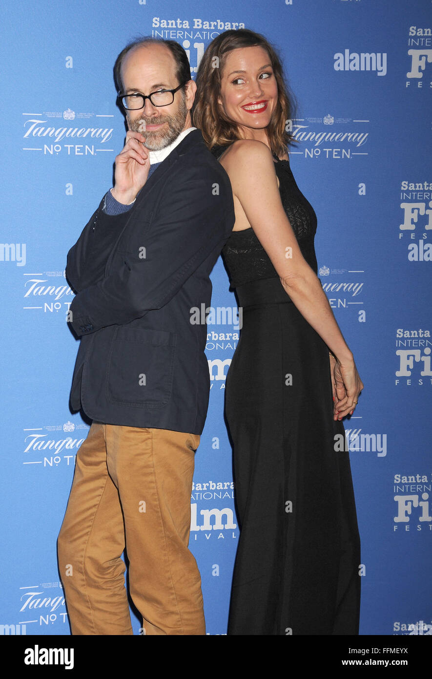 Writer Brian Huskey (L) and actress Erinn Hayes of 'A Better You' attend the 29th Santa Barbara International - Stock Image