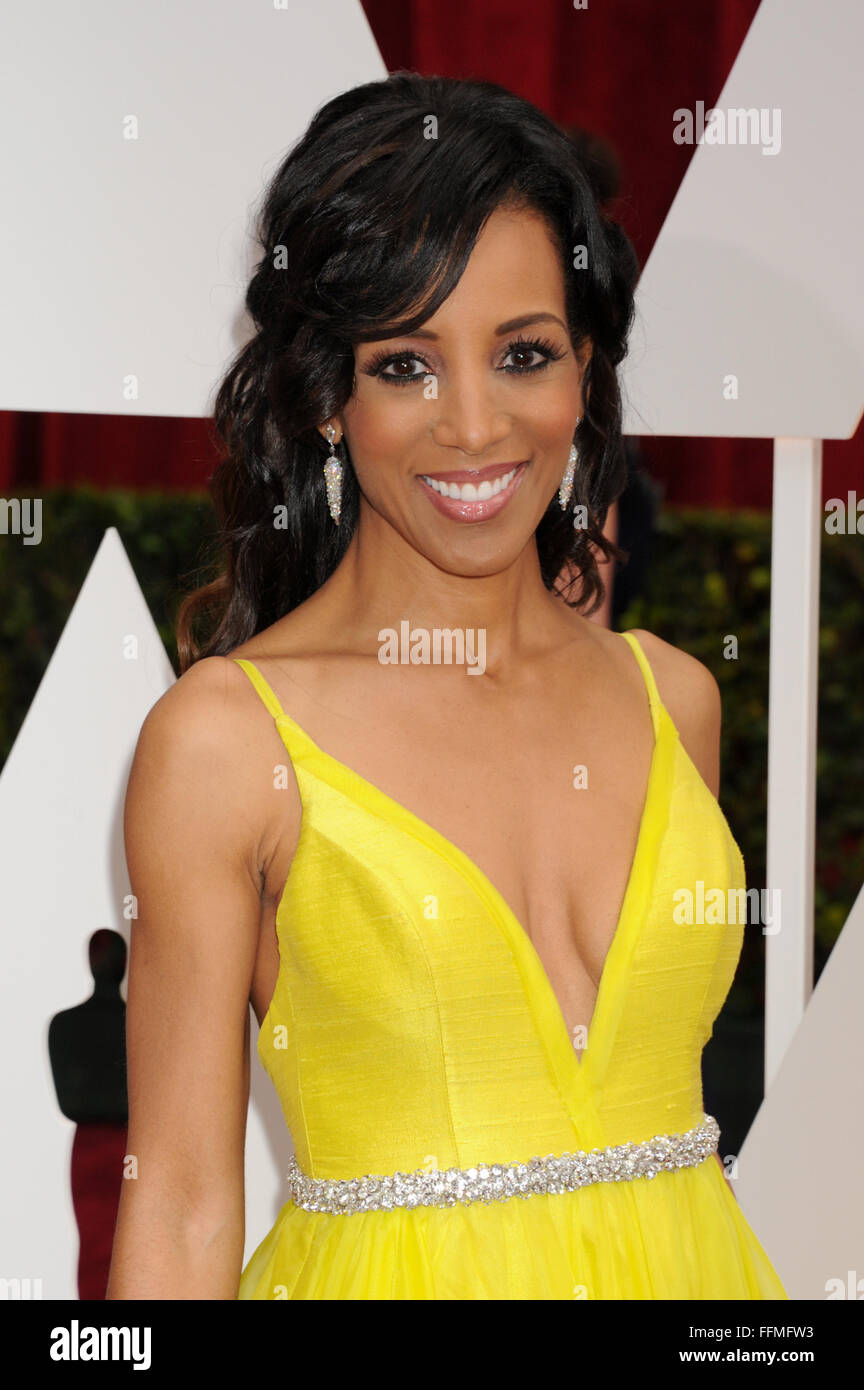 TV personality Shaun Robinson arrives at the 87th Annual Academy Awards at Hollywood & Highland Center on February - Stock Image