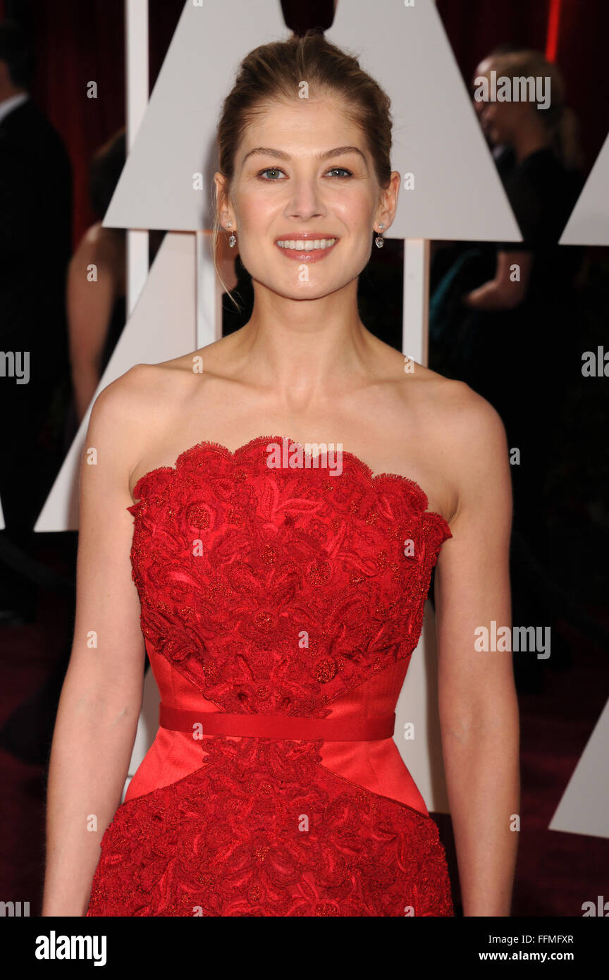 Actress Rosamund Pike arrives at the 87th Annual Academy Awards at Hollywood & Highland Center on February 22, - Stock Image