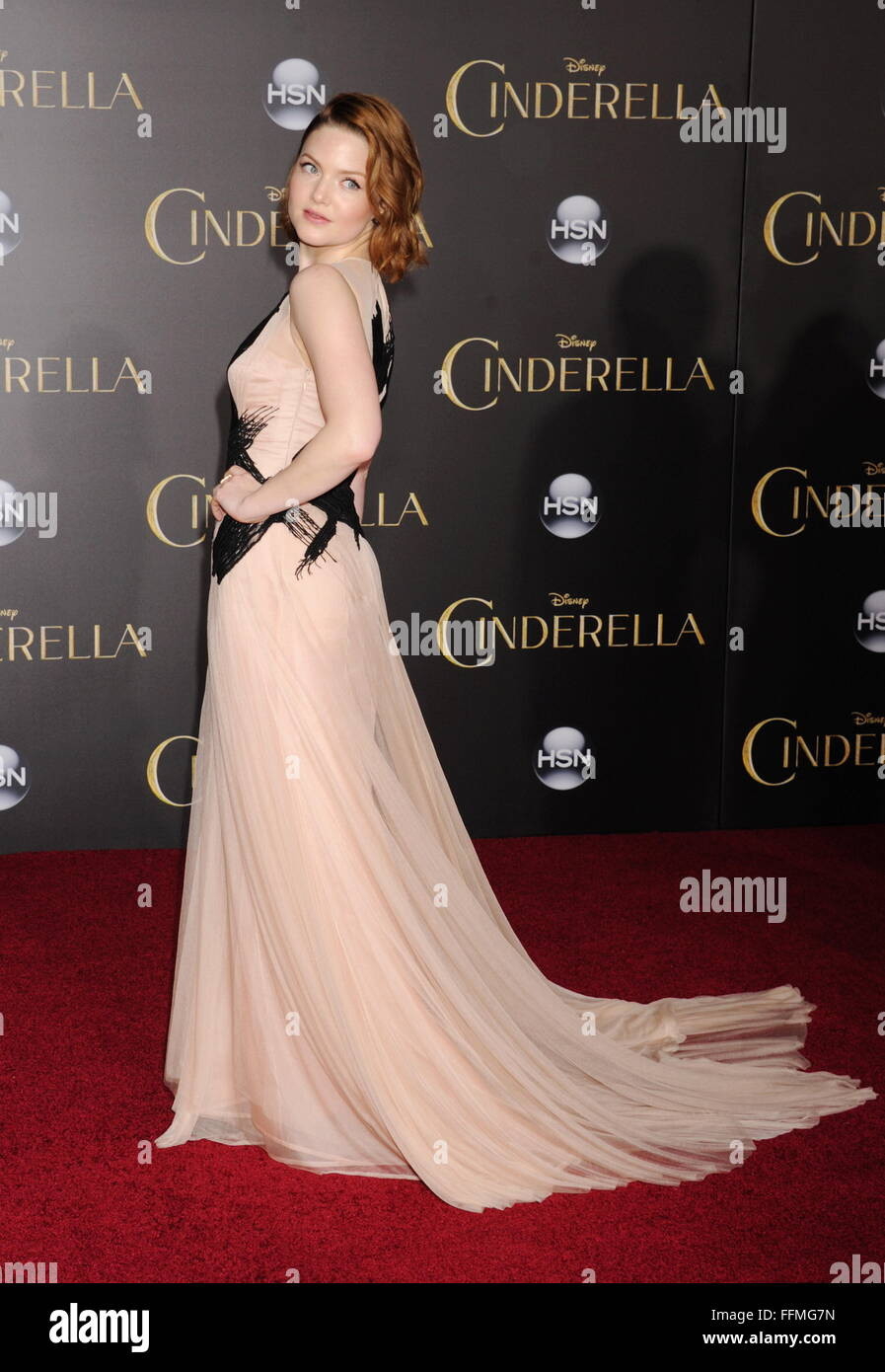 Actress Holliday Grainger arrives at the World Premiere of Disney's 'Cinderella' at the El Capitan Theatre - Stock Image
