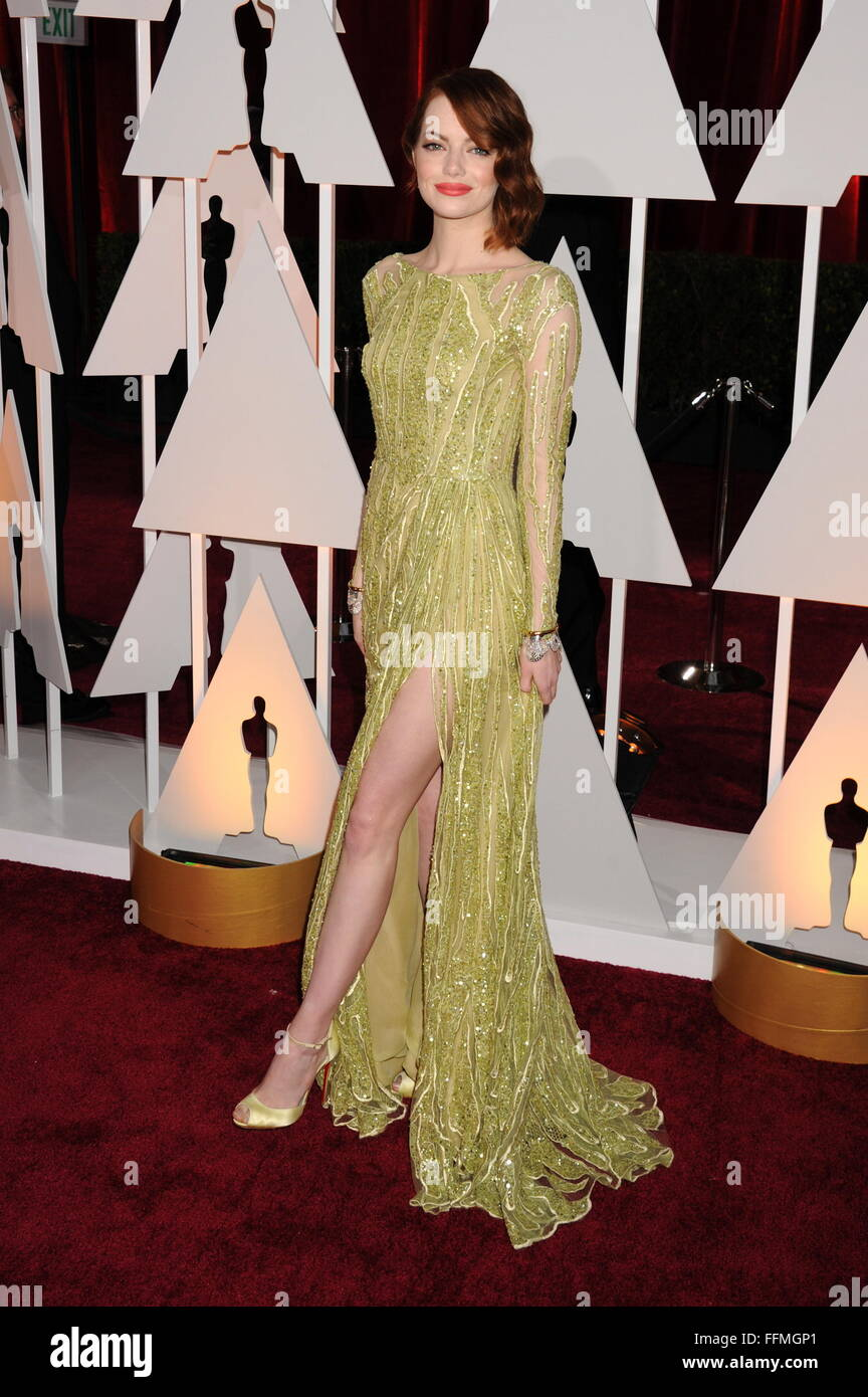 Actress Emma Stone arrives at the 87th Annual Academy Awards at Hollywood & Highland Center on February 22, - Stock Image