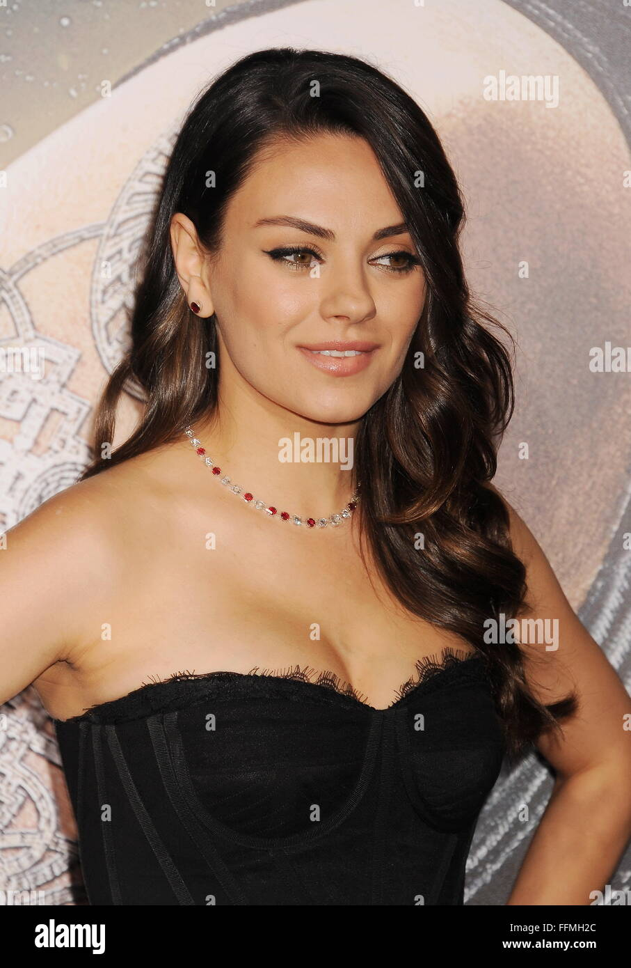 """Actress Mila Kunis arrives at the """"Jupiter Ascending"""" Los Angeles Premiere at TCL Chinese Theatre on February 2, Stock Photo"""