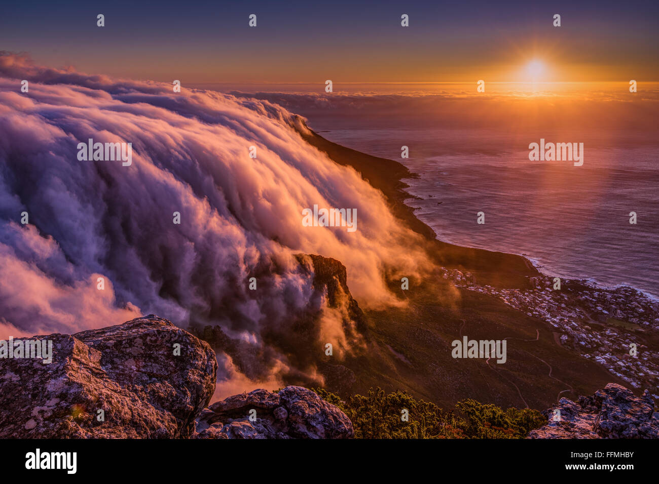 Sunset from Table Mountain, South Africa - Stock Image
